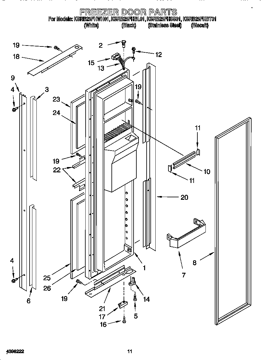 FREEZER DOOR Diagram & Parts List for Model ksrb25fhss01
