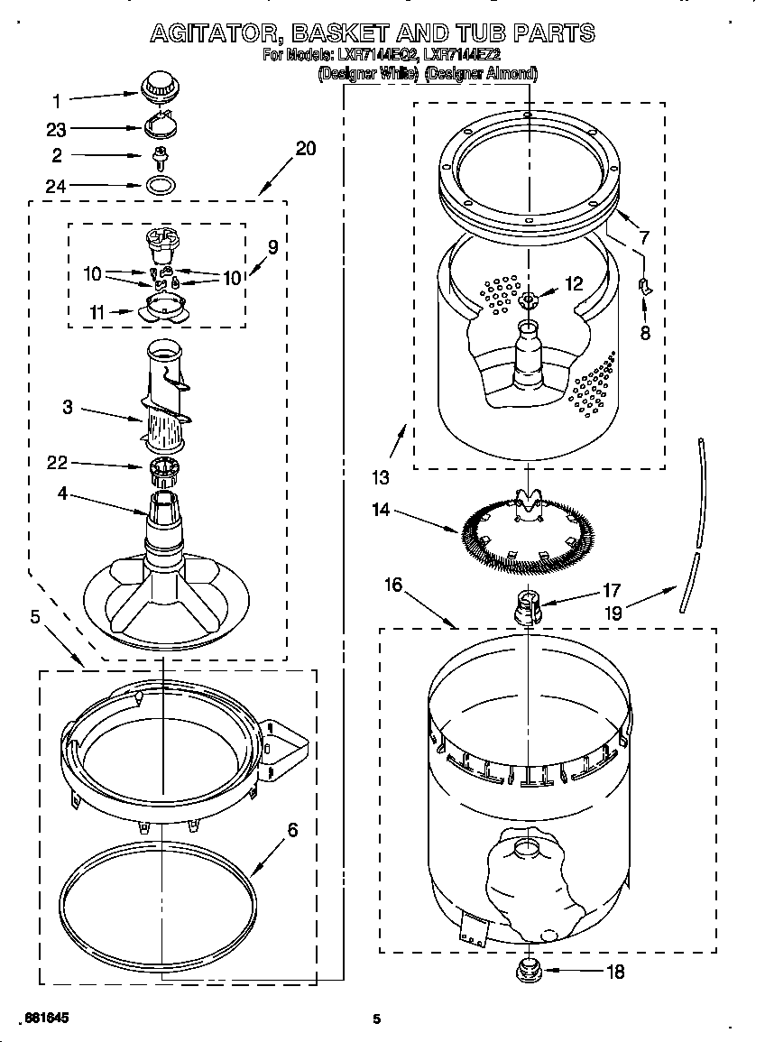 AGITATOR, BASKET, AND TUB Diagram & Parts List for Model