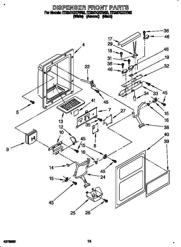 Diagram And Parts List For Whirlpool Dishwasherparts Model