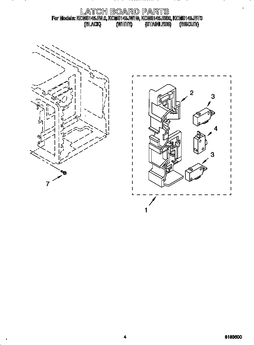 LATCH BOARD Diagram & Parts List for Model kcms145jss0