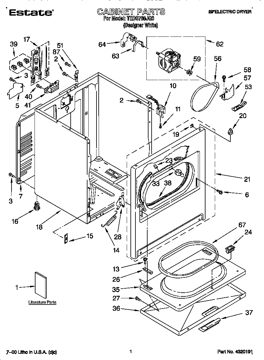 medium resolution of estate electric dryer cabinet parts model teds780jq0