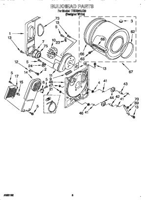 ESTATE Electric Dryer Bulkhead Parts | Model TEDX640JQ0