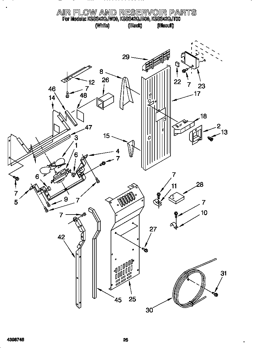 AIR FLOW AND RESERVOIR Diagram & Parts List for Model