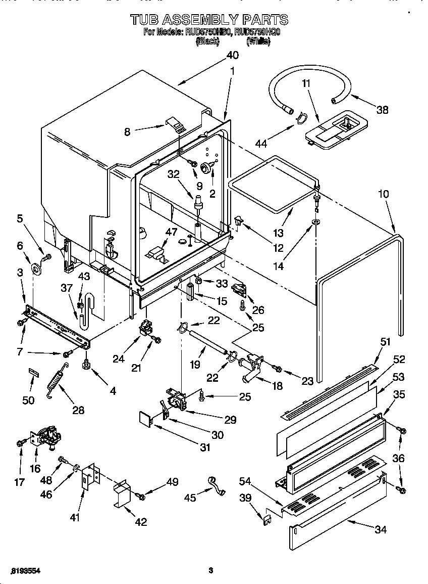 hight resolution of roper rud5750hq0 tub assembly diagram