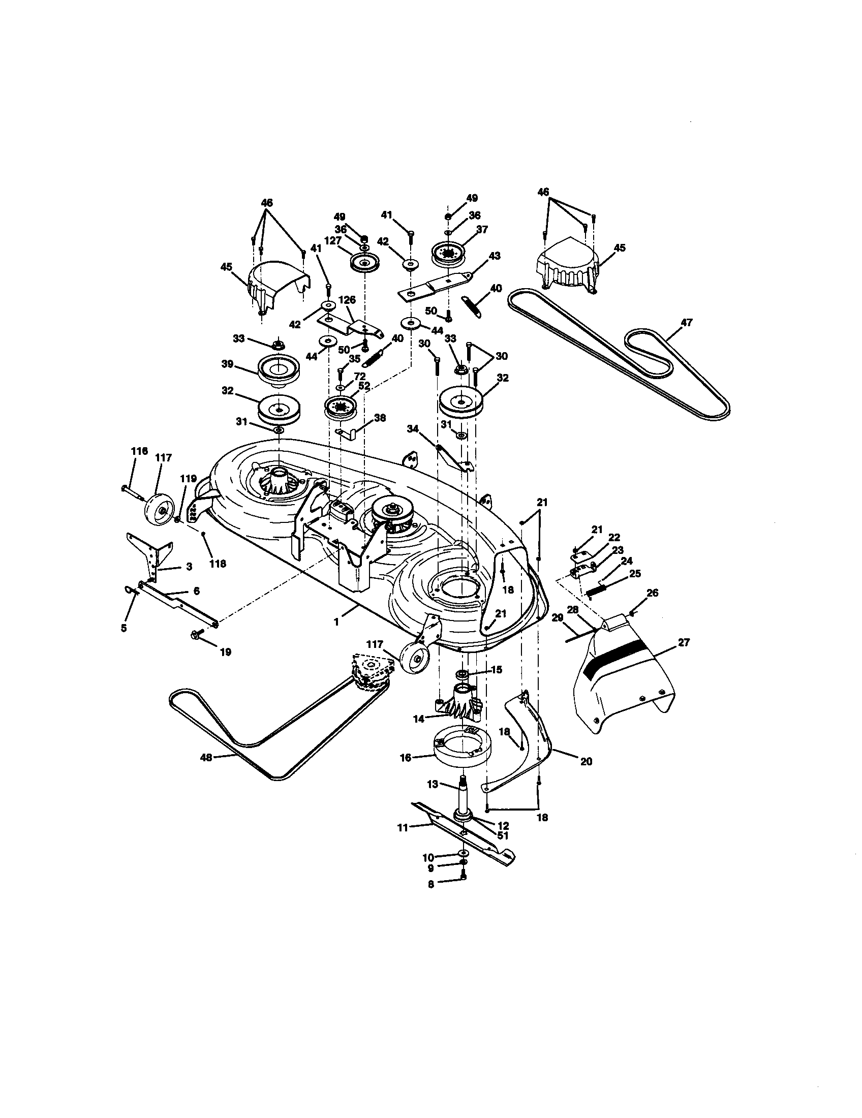 hight resolution of craftsman 917272950 mower deck diagram