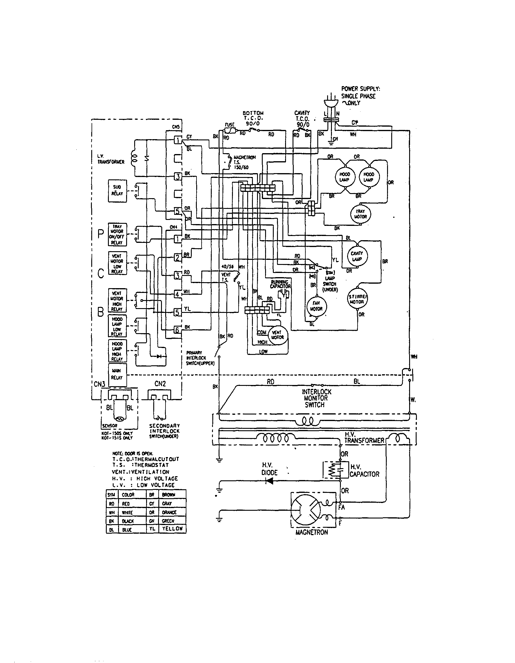 WIRING Diagram & Parts List for Model mmv5000baw Maytag