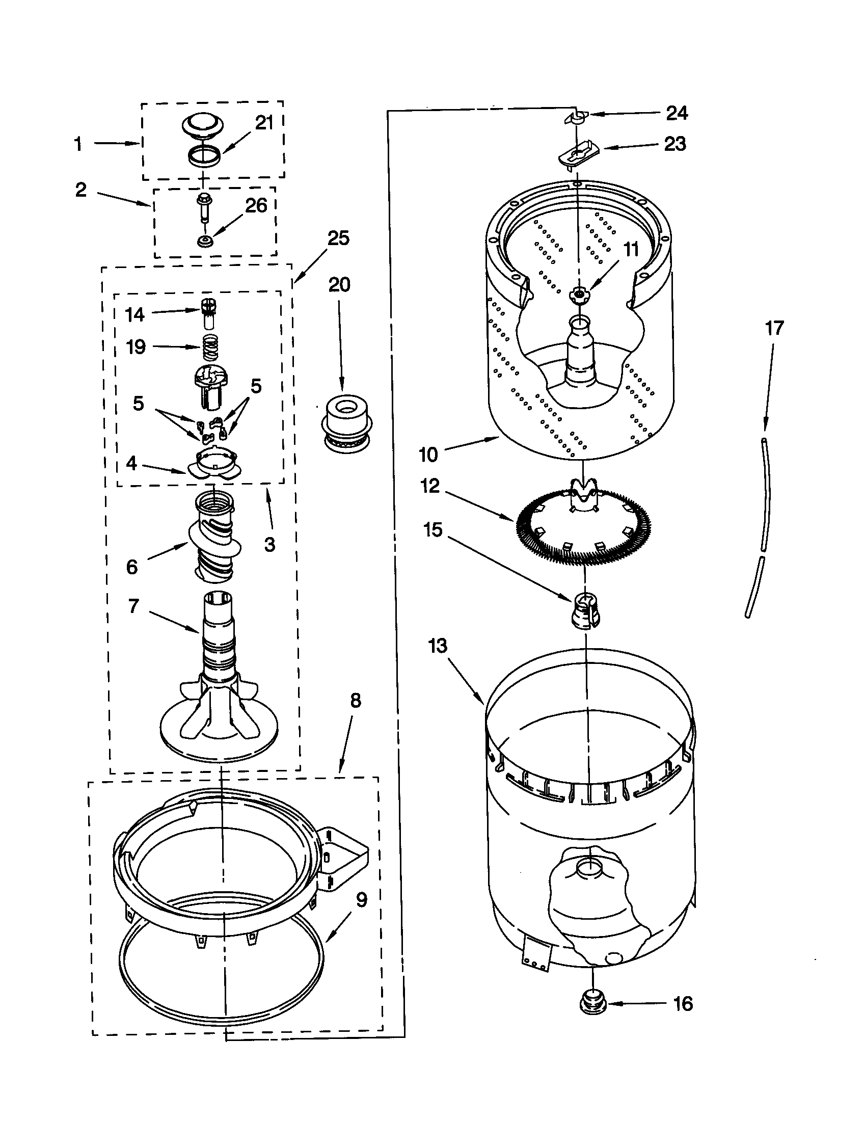 AGITATOR, BASKET AND TUB Diagram & Parts List for Model