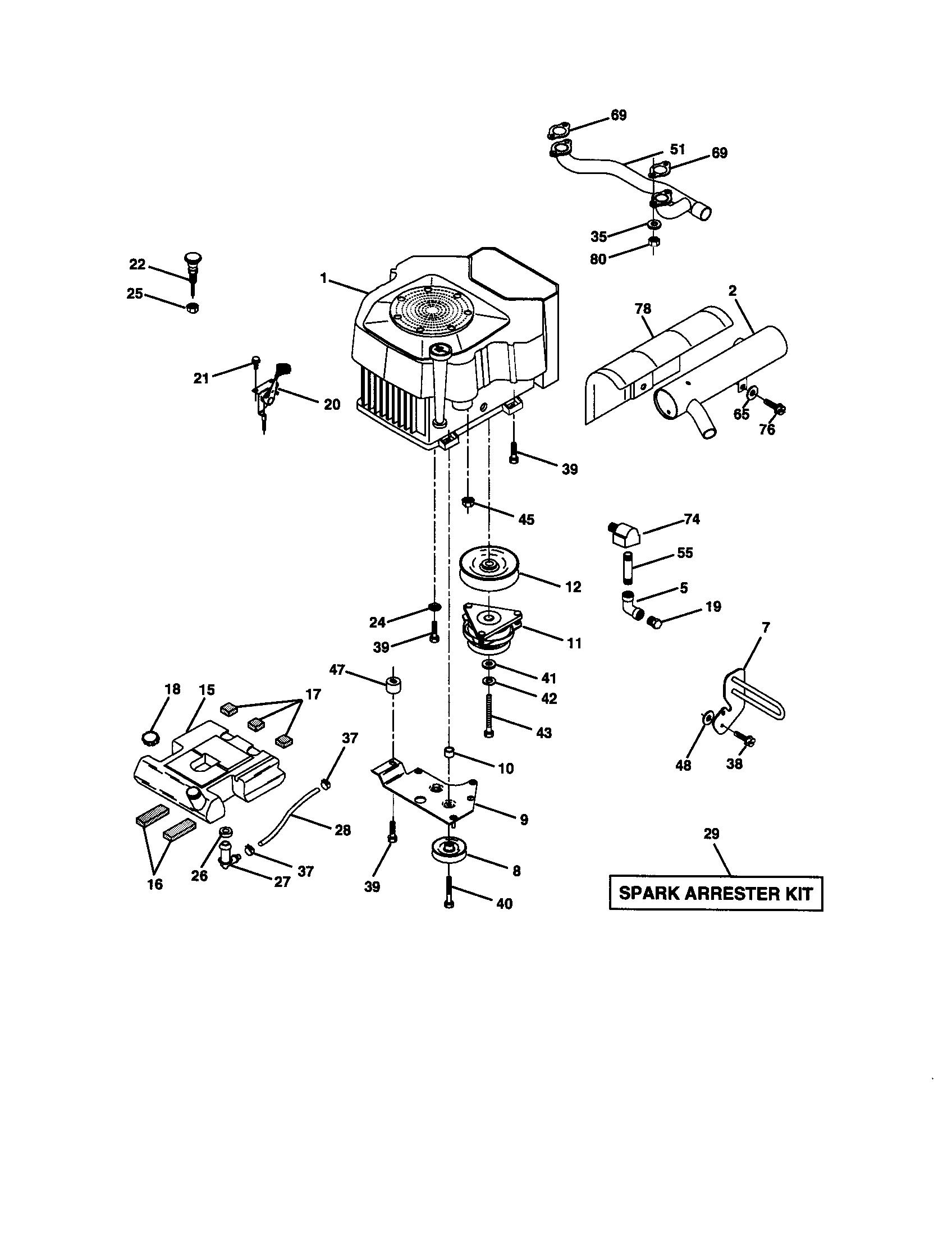 ENGINE Diagram & Parts List for Model 917273090 Craftsman