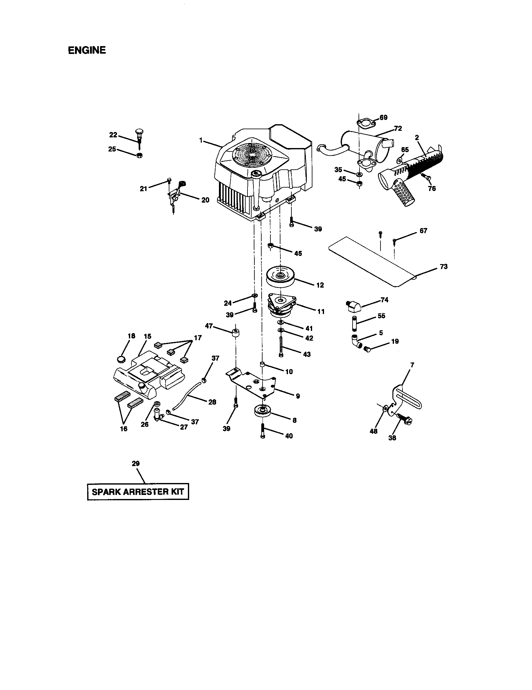 ENGINE Diagram & Parts List for Model 917273323 Craftsman