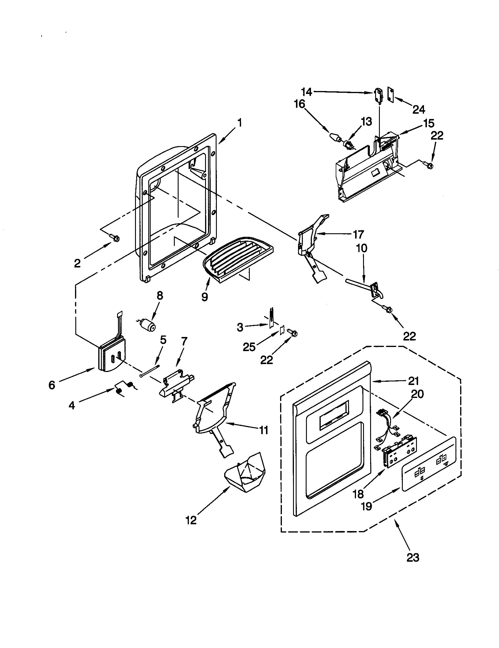 DISPENSER FRONT Diagram & Parts List for Model 10659592990