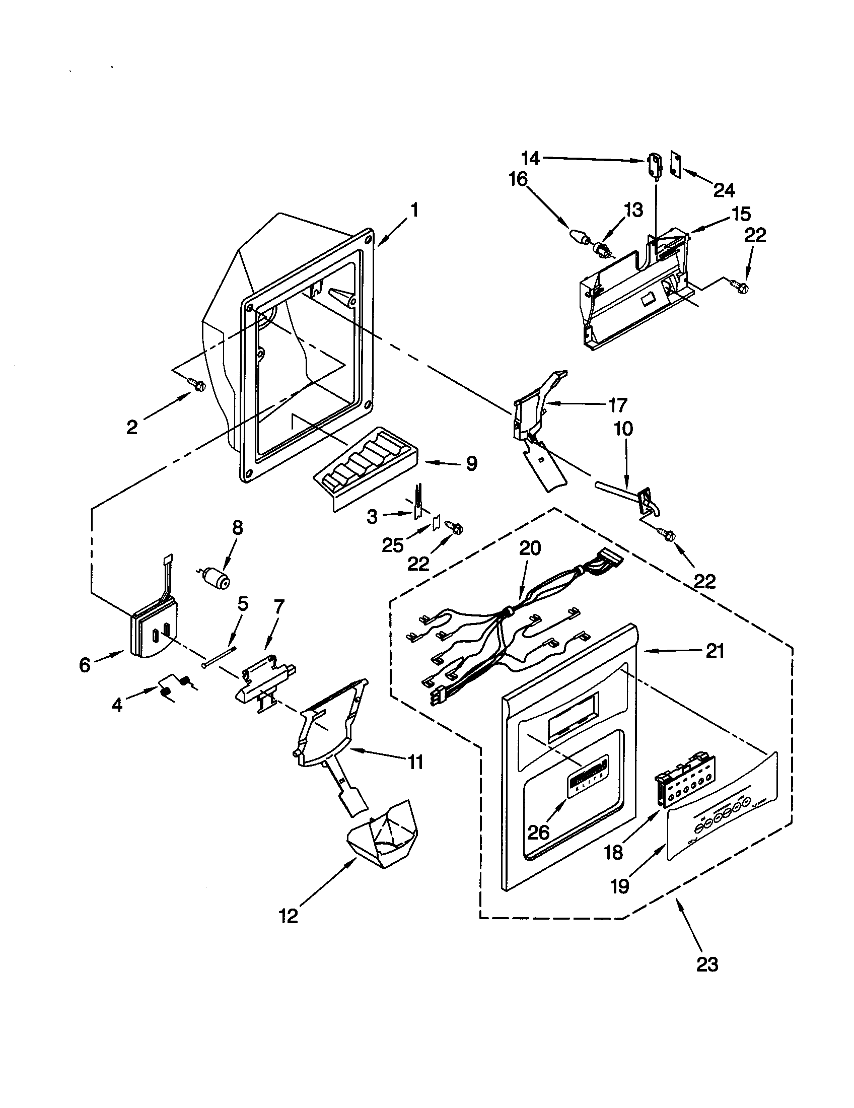 DISPENSER FRONT Diagram & Parts List for Model 10650593000