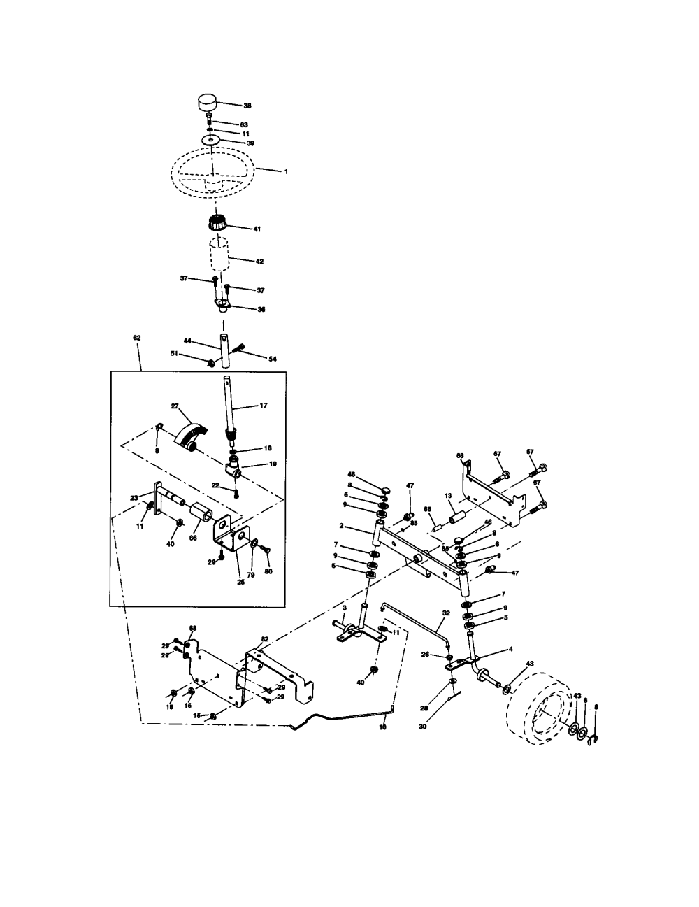 medium resolution of craftsman 917270671 steering assembly diagram