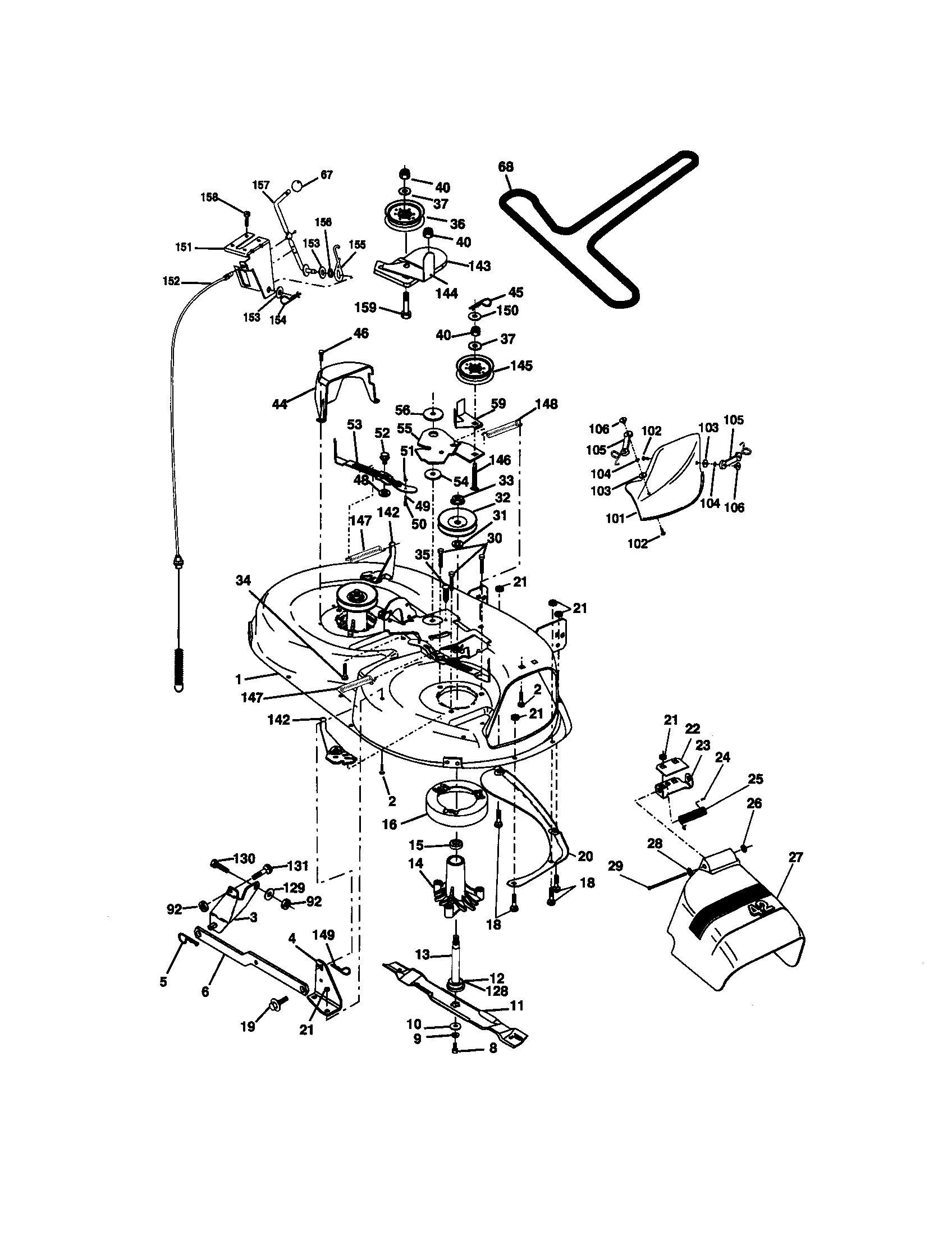 hight resolution of craftsman 917270671 mower deck diagram