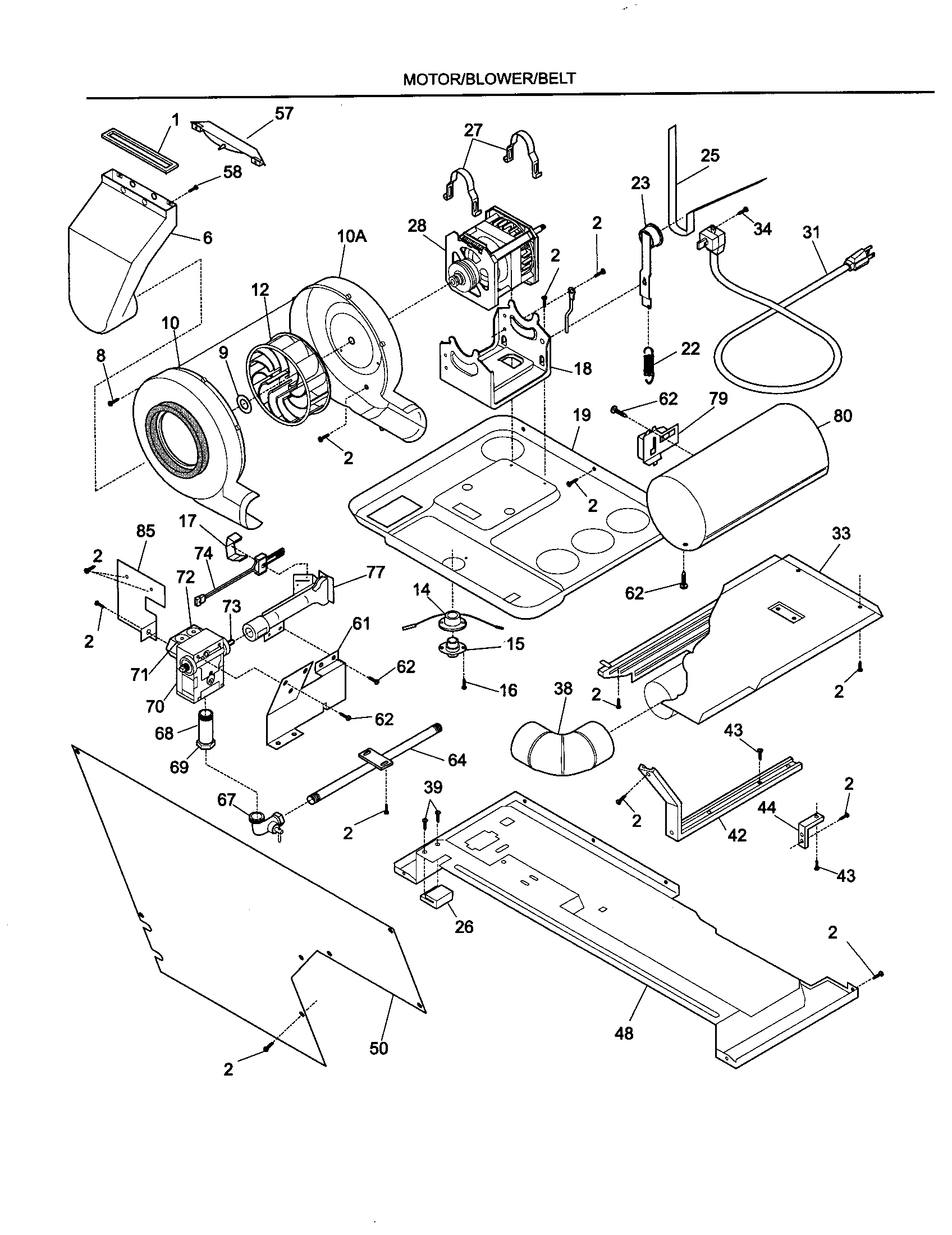 MOTOR/BLOWER/BELT Diagram & Parts List for Model 970