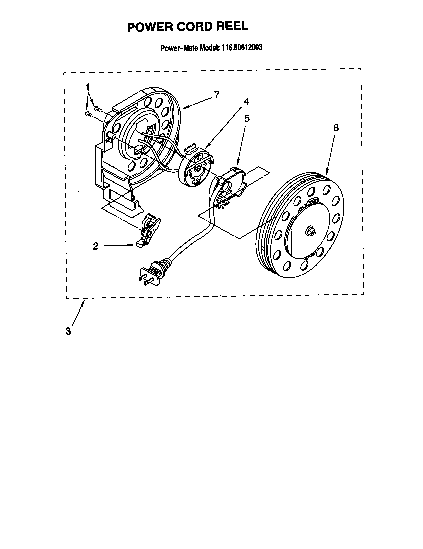 POWER CORD REEL Diagram & Parts List for Model 11620612003