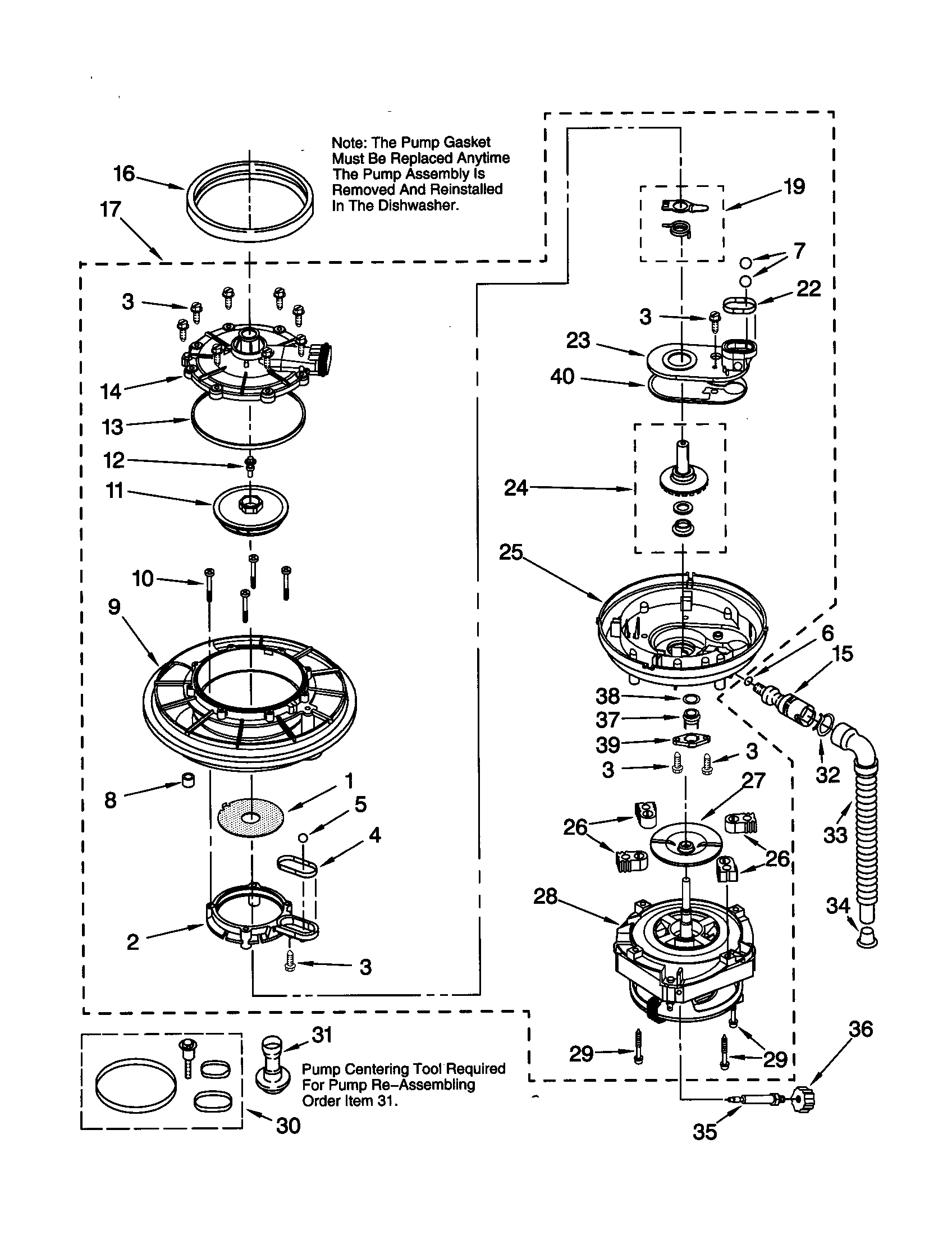 PUMP AND MOTOR Diagram & Parts List for Model 66515834000