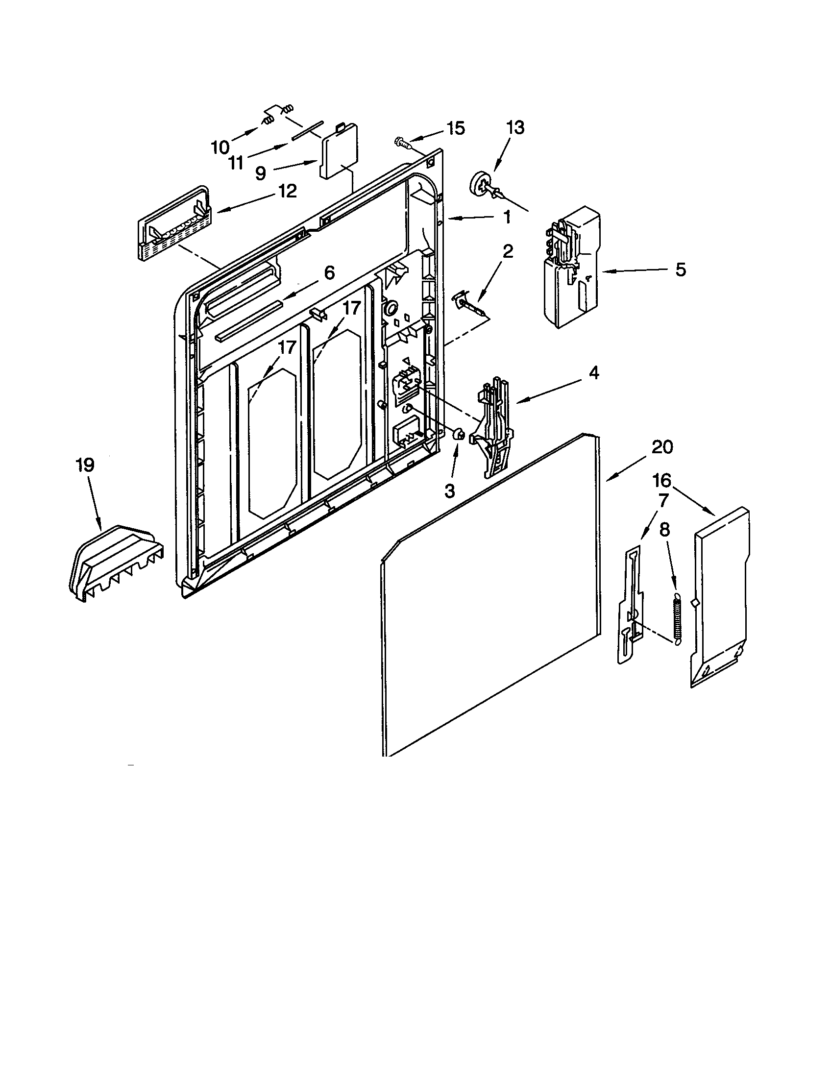 INNER DOOR Diagram & Parts List for Model gu980scgq3