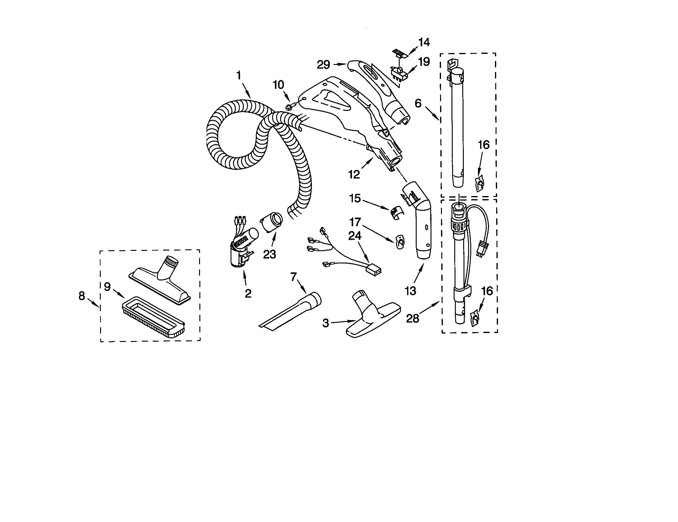 HOSE AND ATTACHMENT Diagram & Parts List for Model