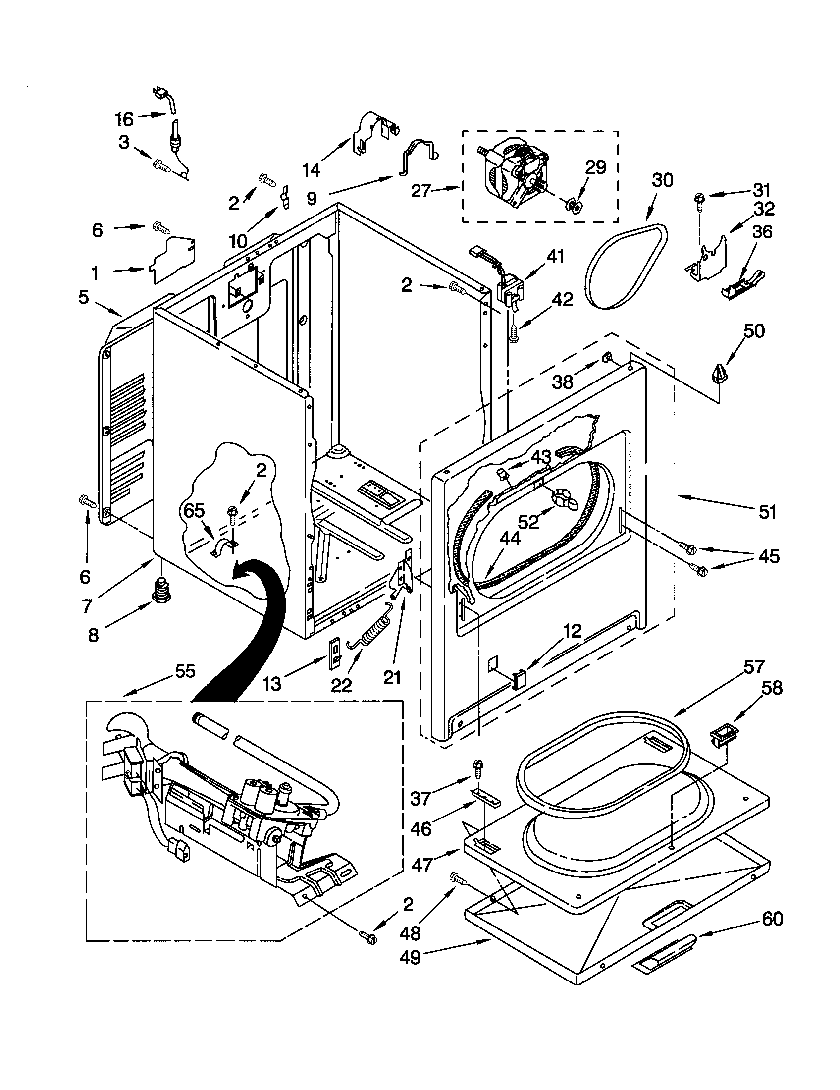 CABINET Diagram & Parts List for Model 11072602100 Kenmore