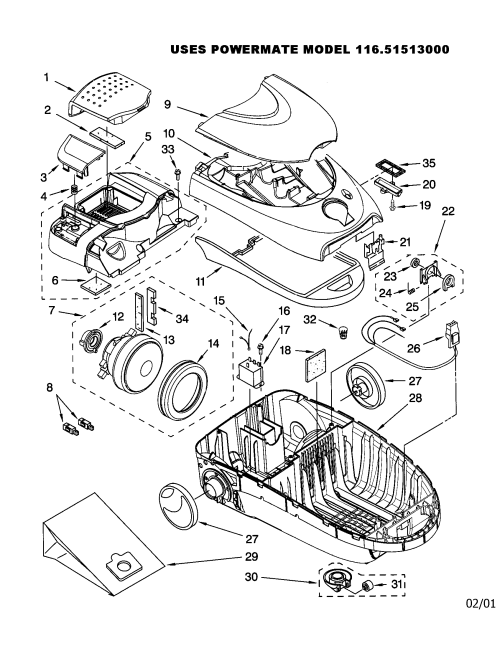 small resolution of kenmore 11621513000 vacuum cleaner diagram