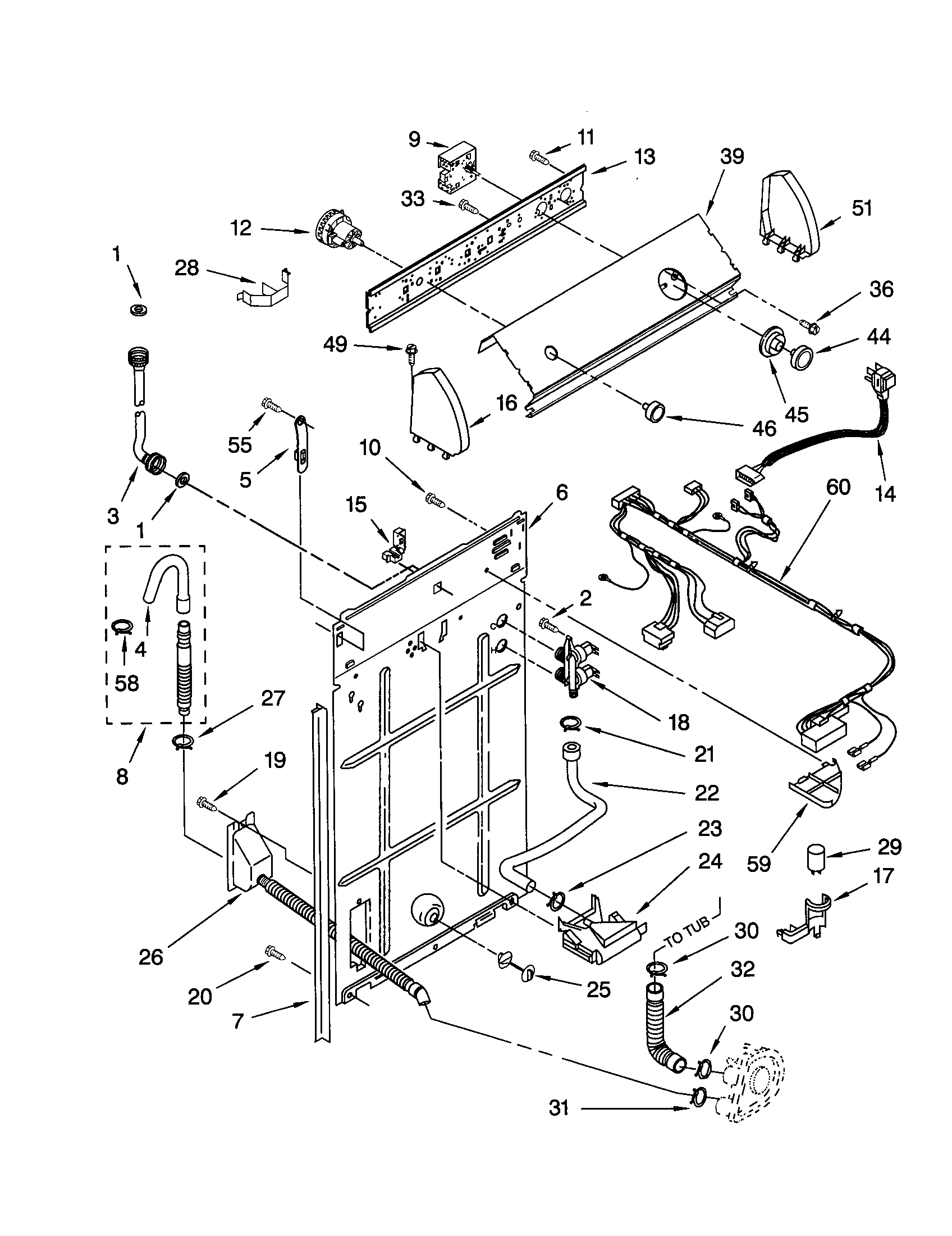 CONTROLS AND REAR PANEL Diagram & Parts List for Model