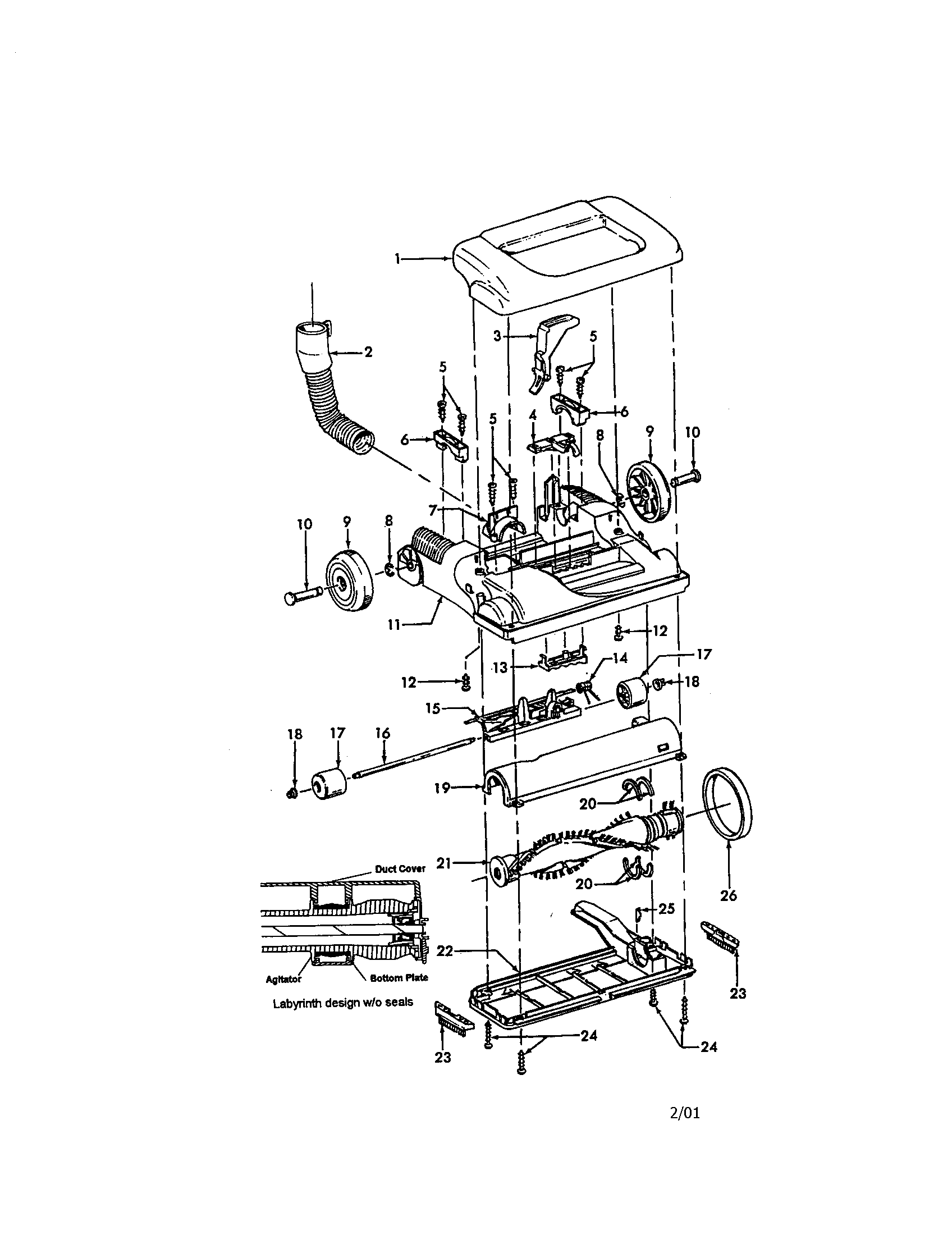 hight resolution of hoover windtunnel upright parts model u5443900 sears hoover bagless vacuum hoover vacuum cleaner wiring diagram