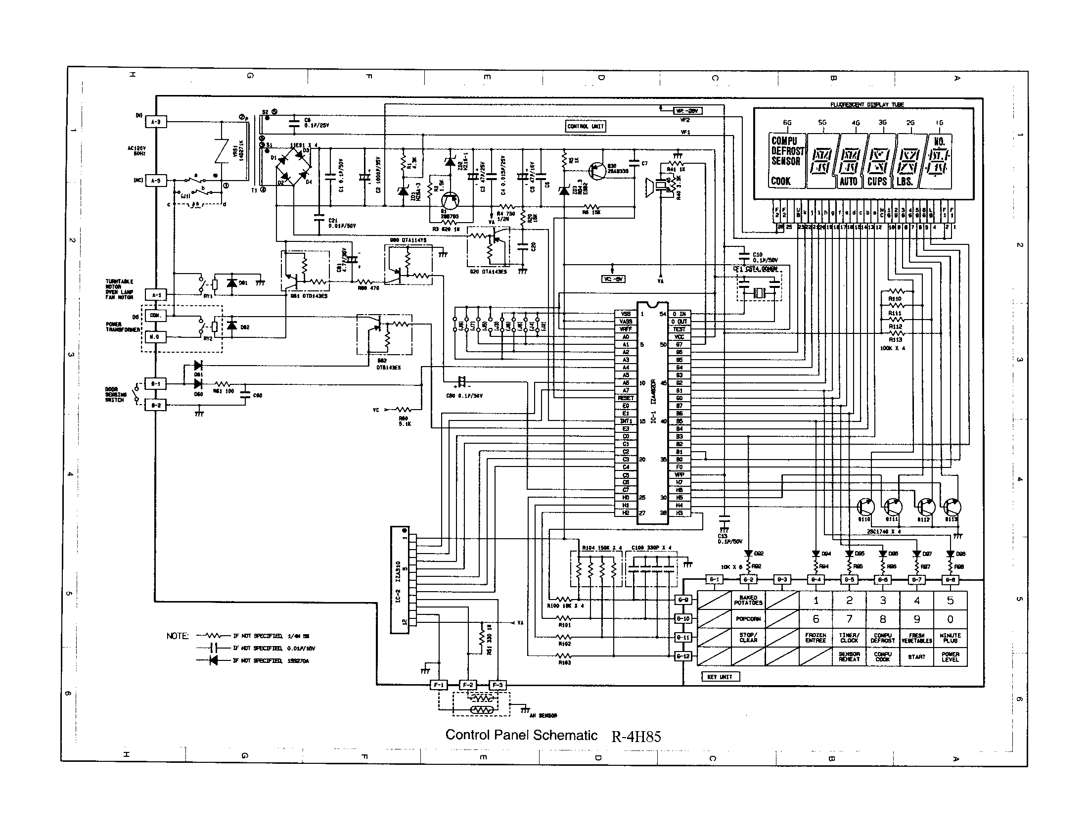 CONTROL PANEL SCHEMATIC R-4H84 Diagram & Parts List for
