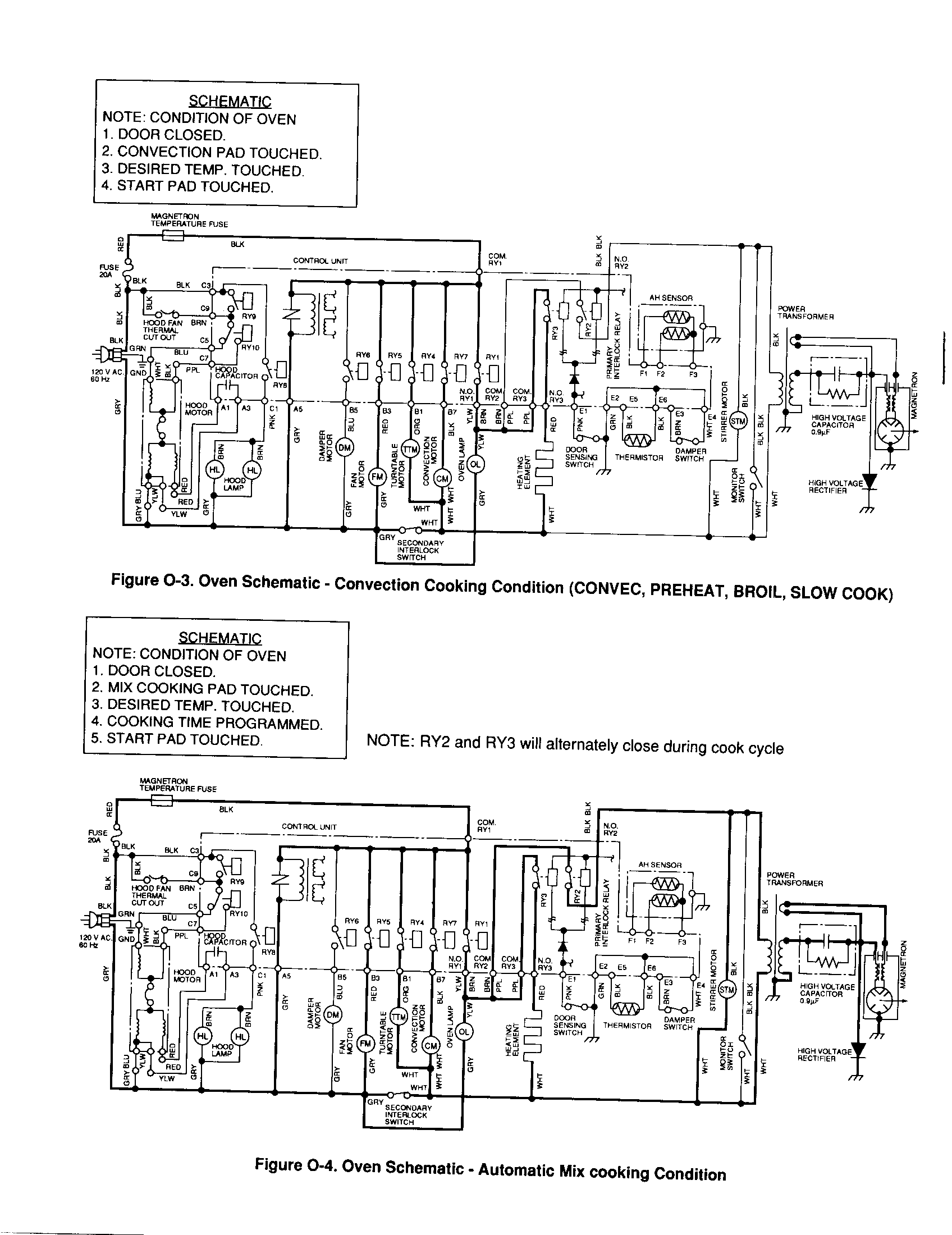 OVEN SCHEMATIC Diagram & Parts List for Model r1851 Sharp