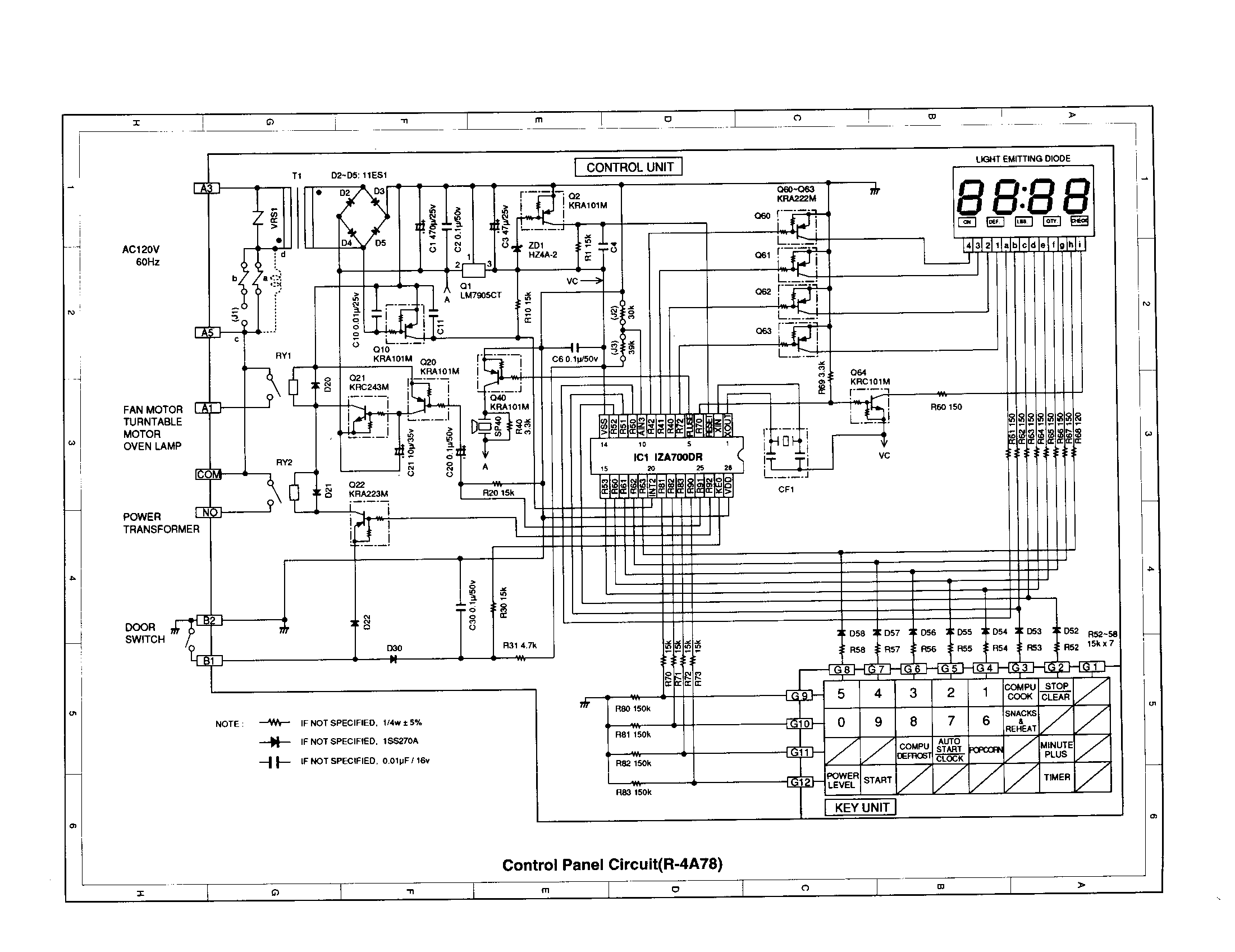 CONTROL PANEL CIRCUIT (R-4A78) Diagram & Parts List for