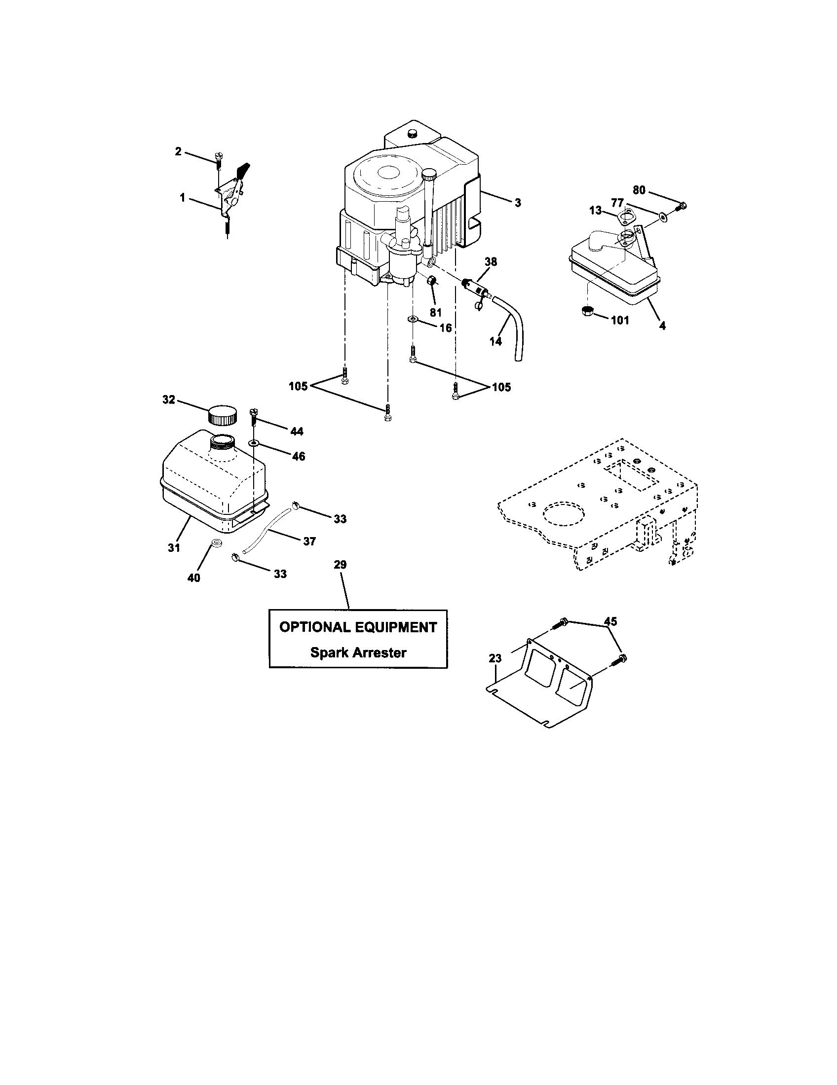 ENGINE Diagram & Parts List for Model 917272072 Craftsman