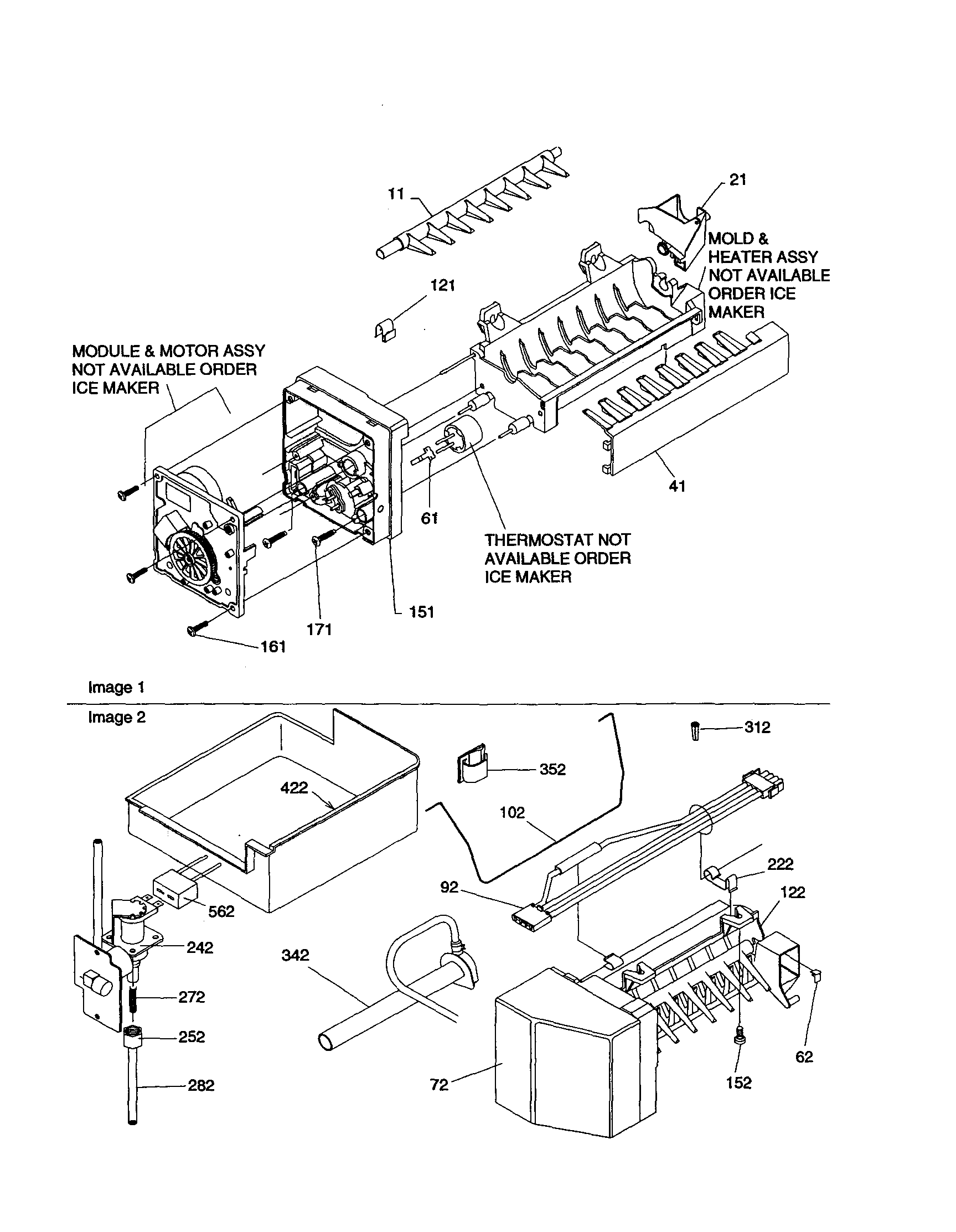 ICE MAKER ASSEMBLY Diagram & Parts List for Model