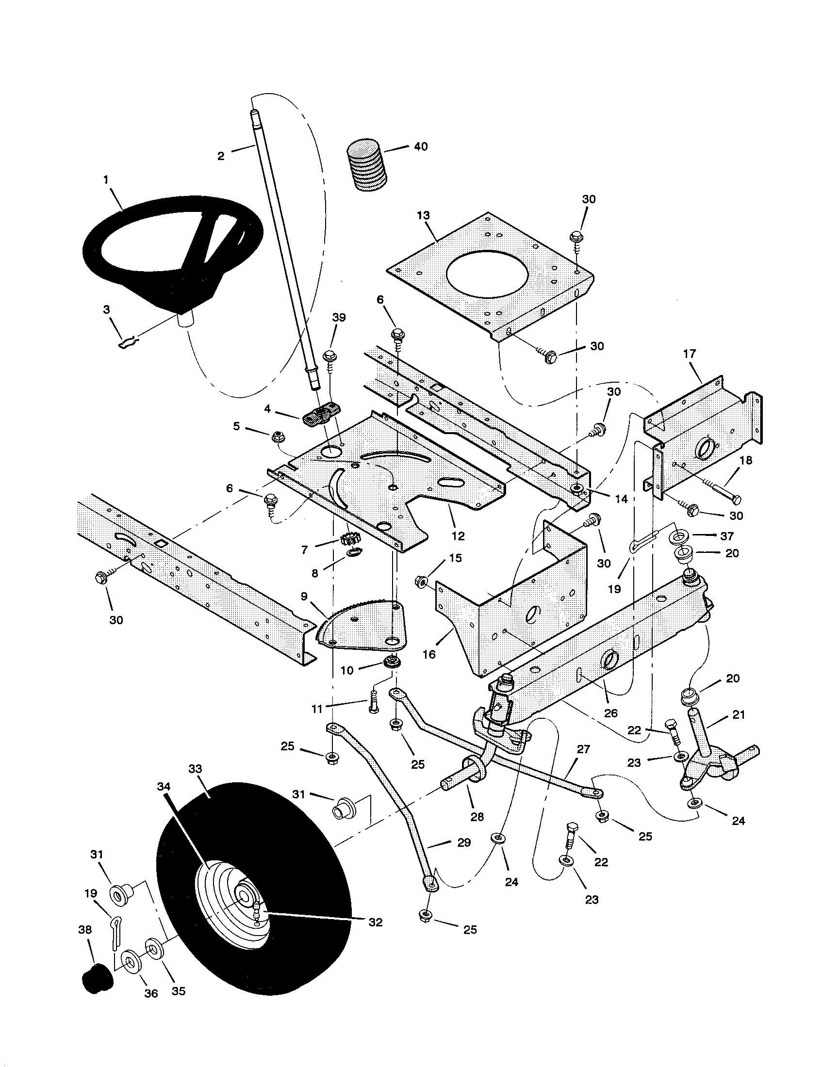 STEERING Diagram & Parts List for Model 42583x9a Murray