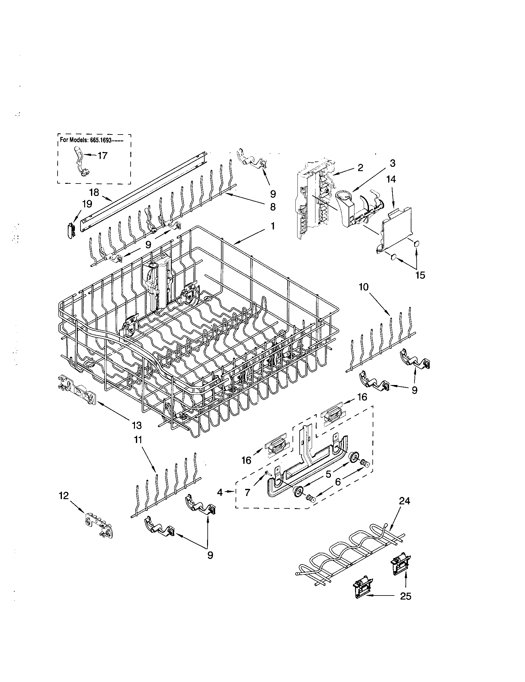 UPPER RACK AND TRACK Diagram & Parts List for Model