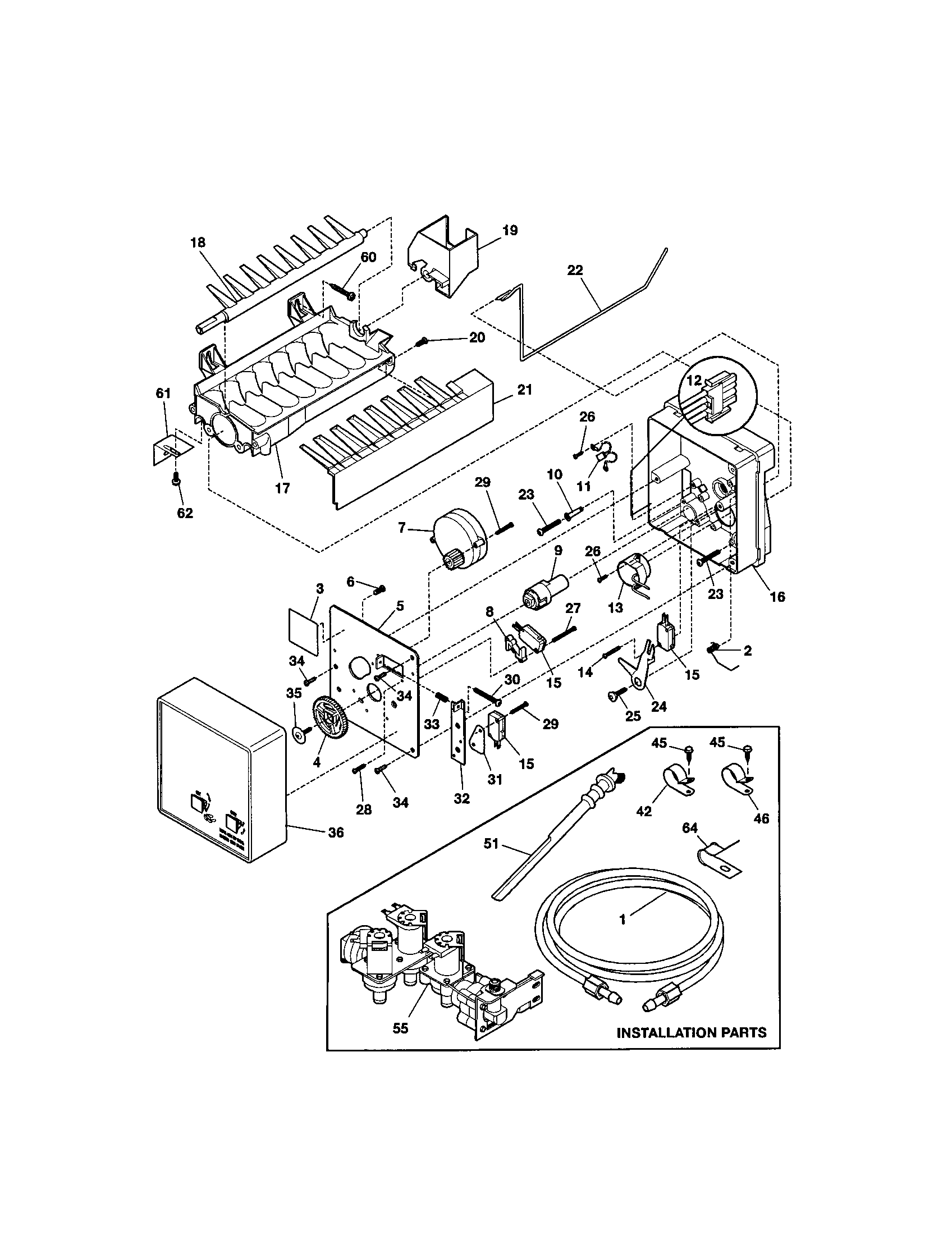 ICE MAKER Diagram & Parts List for Model 25351232102
