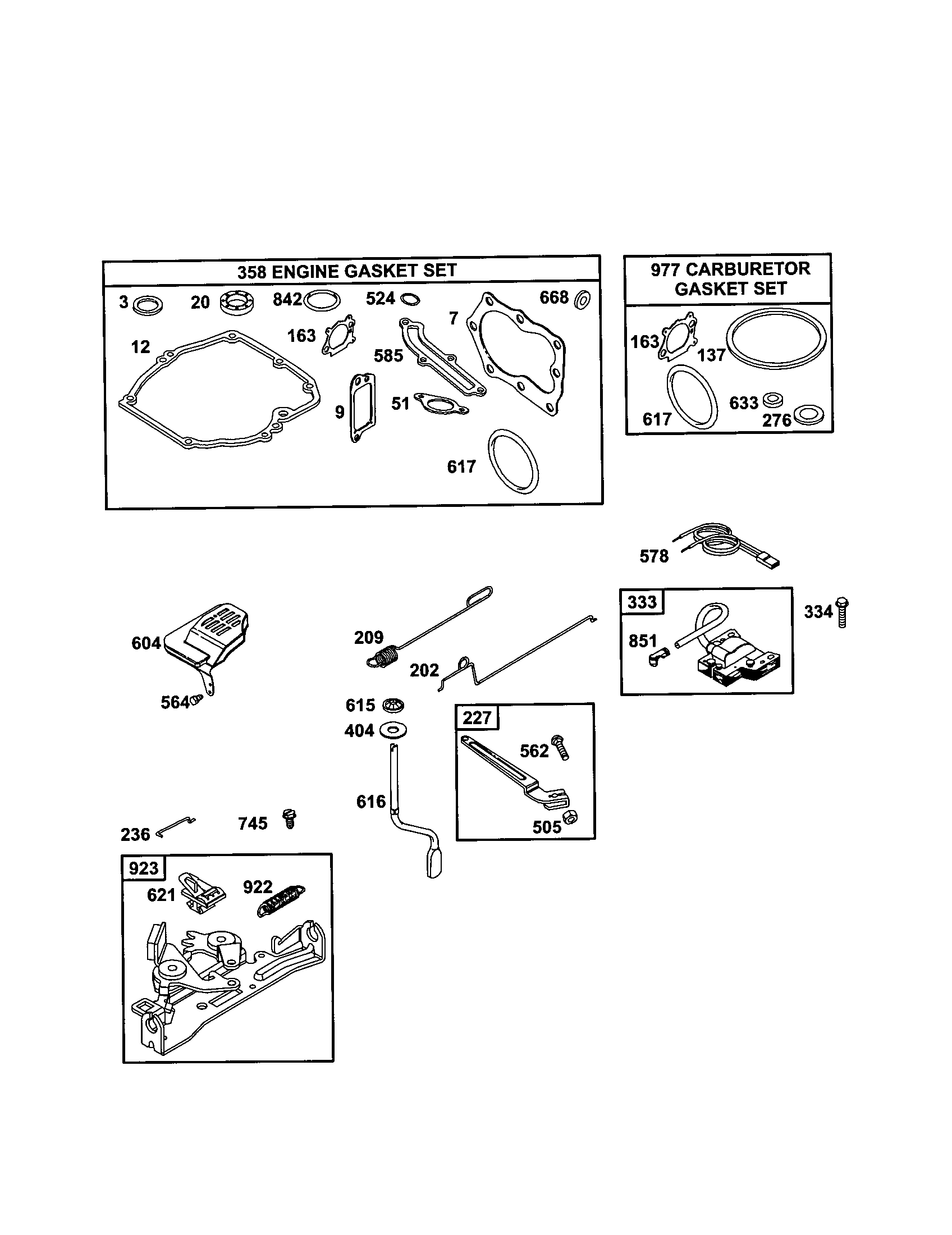 hight resolution of briggs stratton 12j802 2915 b2 engine gasket set diagram