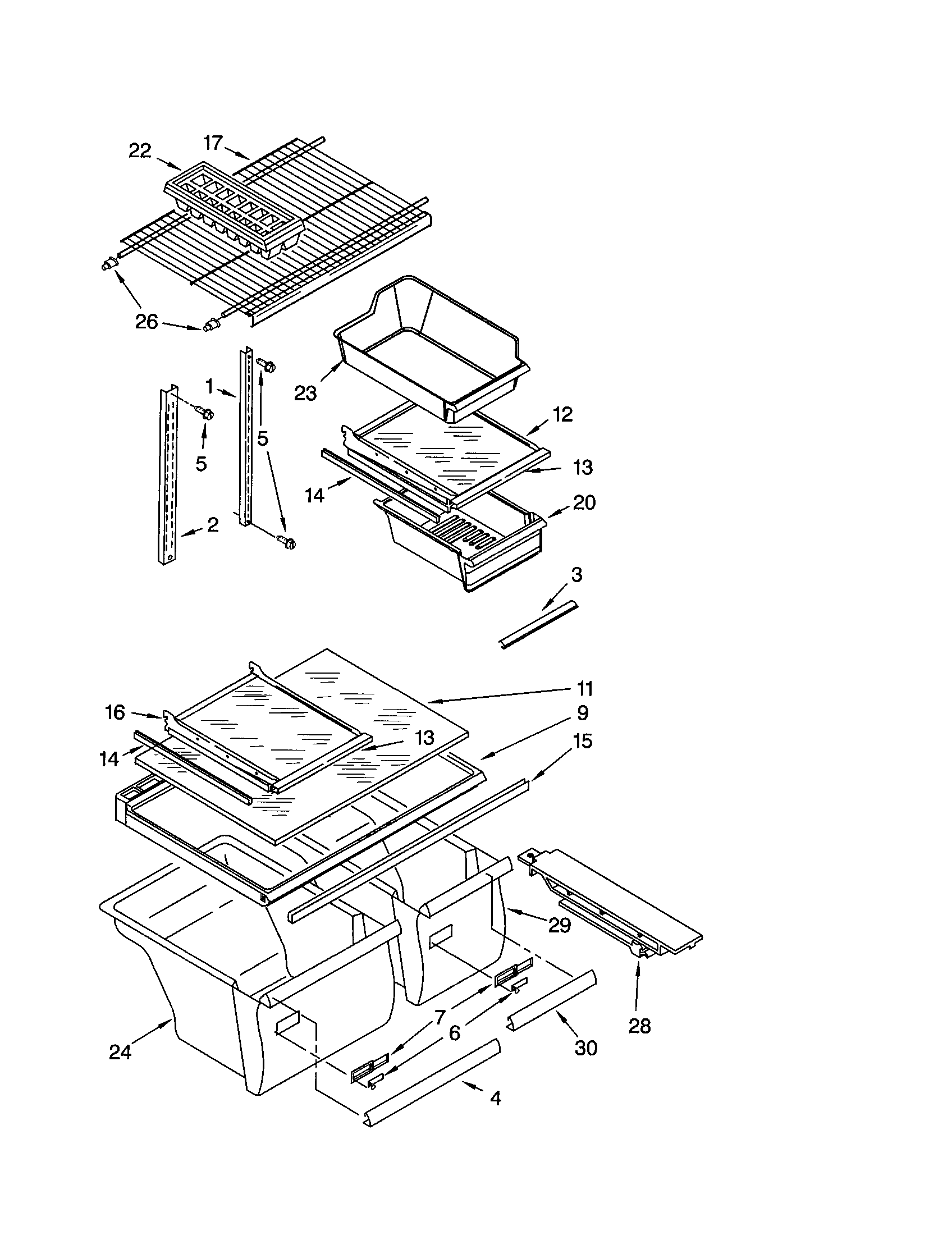 SHELF Diagram & Parts List for Model 10660852991 Kenmore
