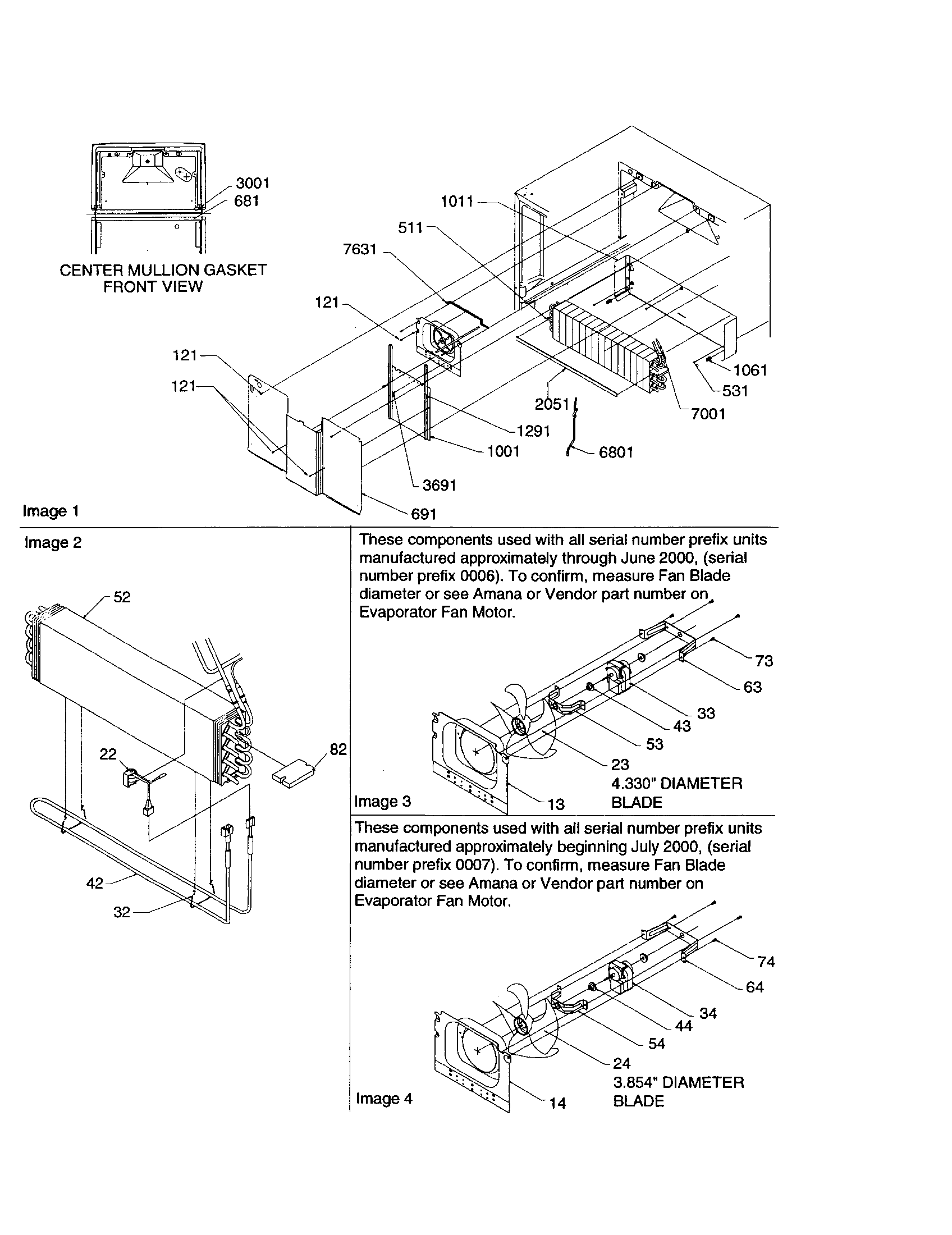 EVAPORATOR/EVAPORATOR FAN MOTOR Diagram & Parts List for