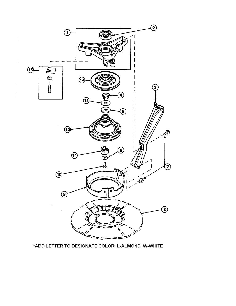 medium resolution of amana lw6153wm plw6153wmb bearing housing brake pulley diagram