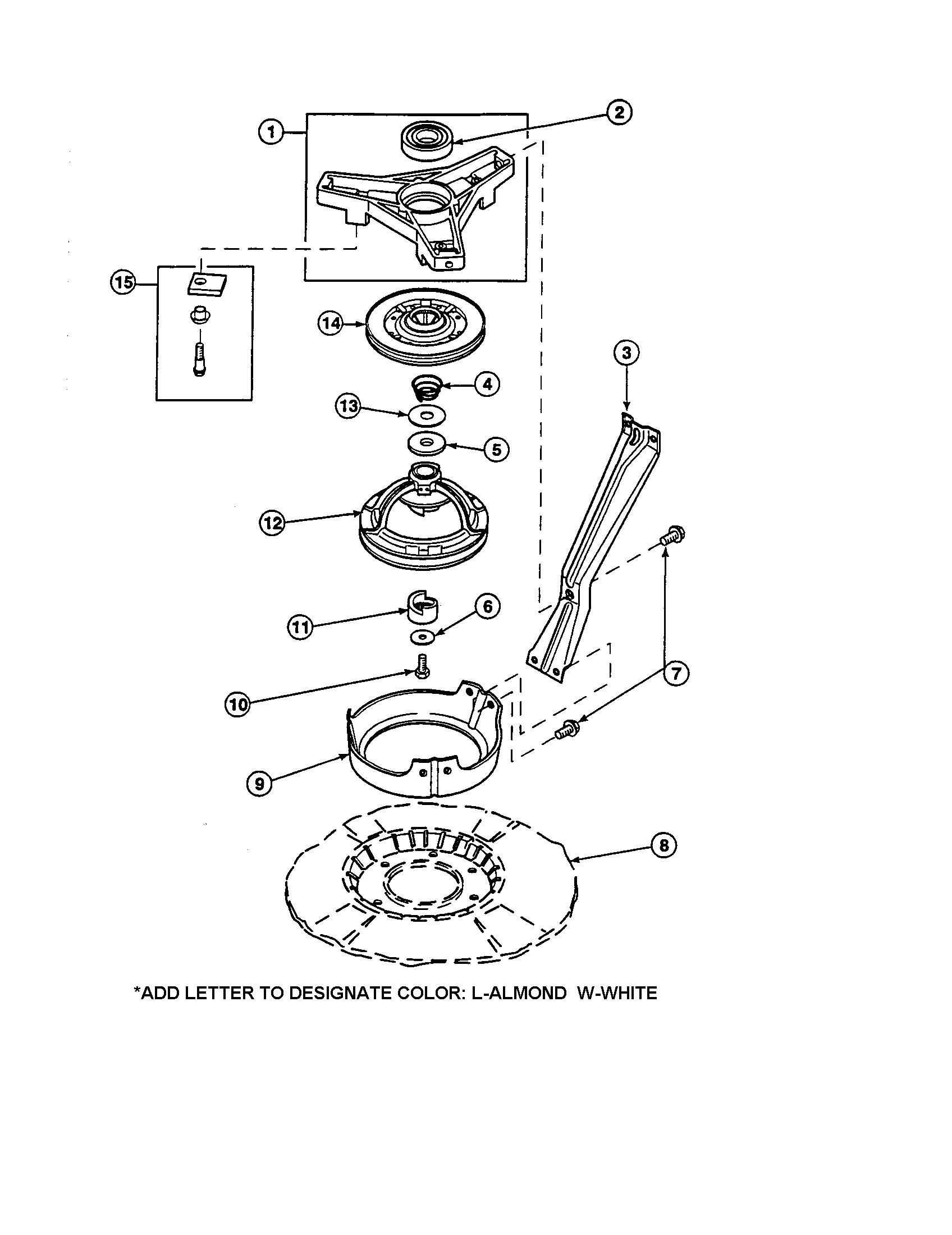 hight resolution of amana lw6153wm plw6153wmb bearing housing brake pulley diagram