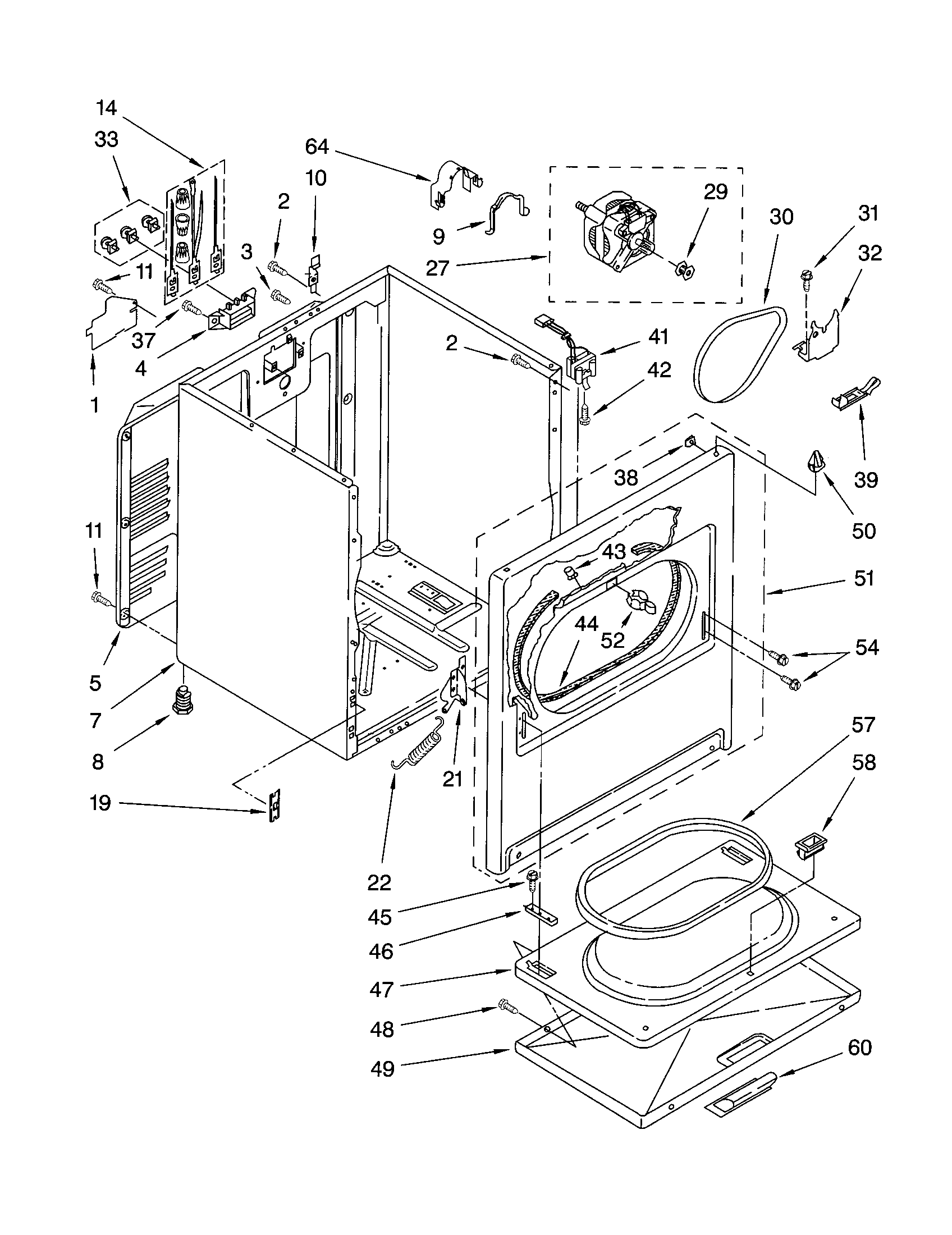 CABINET Diagram & Parts List for Model 11062822101 Kenmore