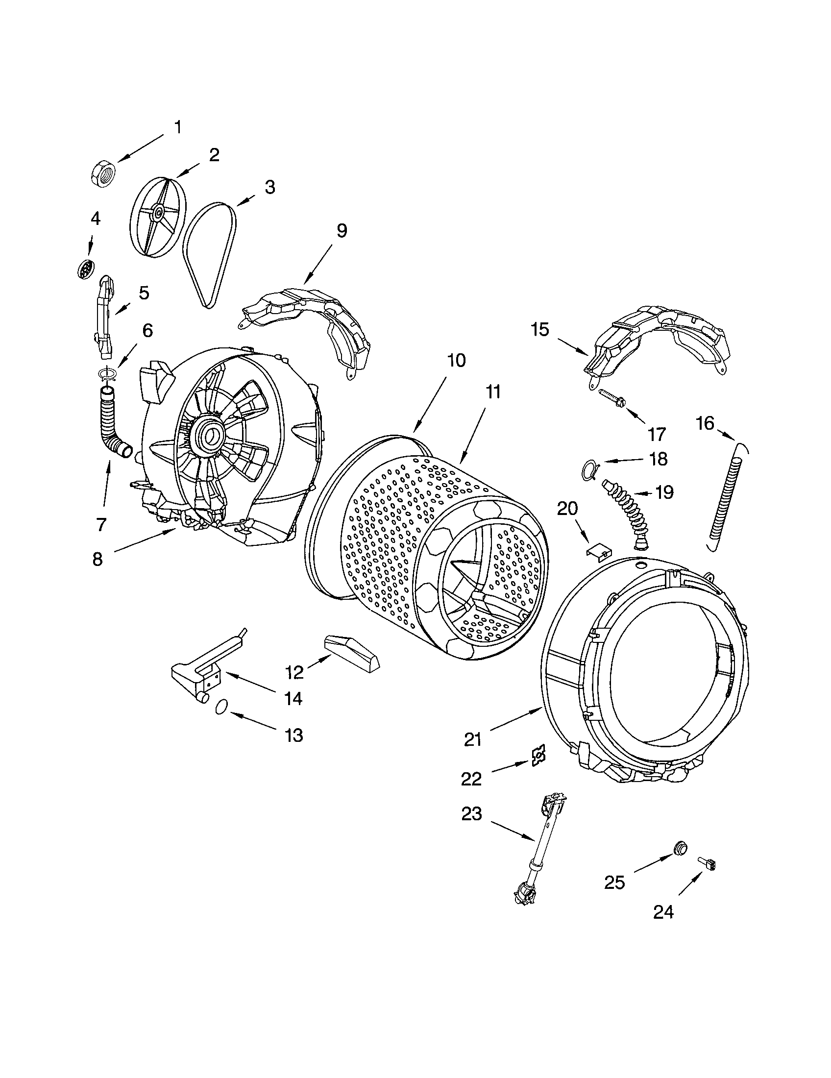 TUB AND BASKET Diagram & Parts List for Model 11042822220