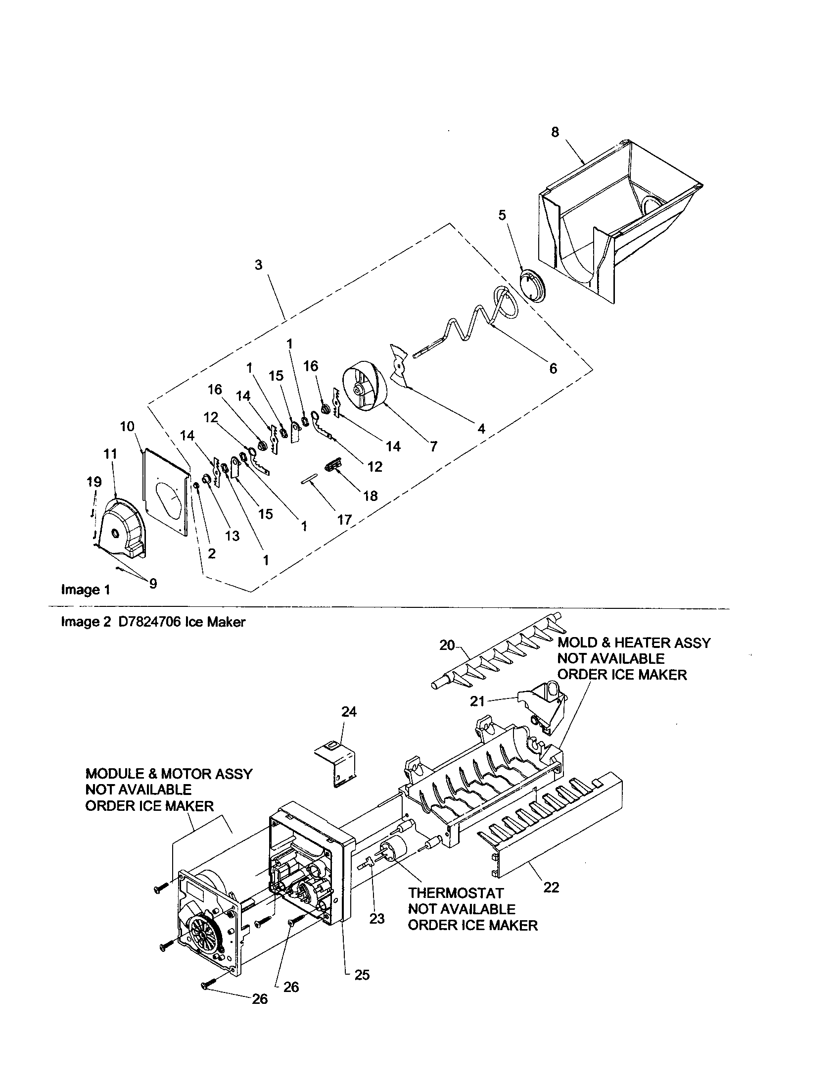 ICE BUCKET/AUGER Diagram & Parts List for Model