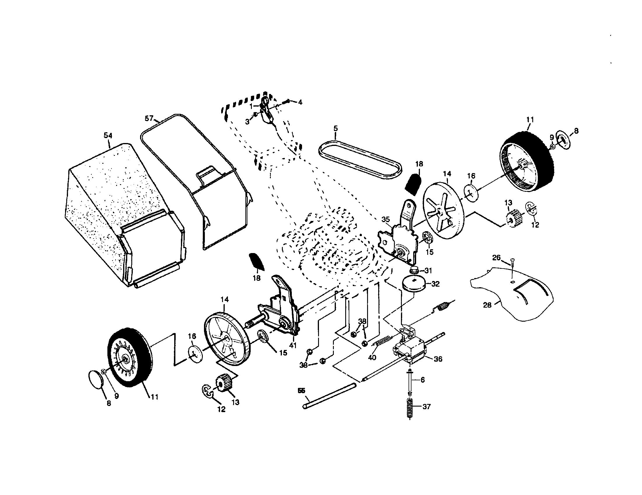 TRANSMISSION/WHEELS/BAGGER Diagram & Parts List for Model