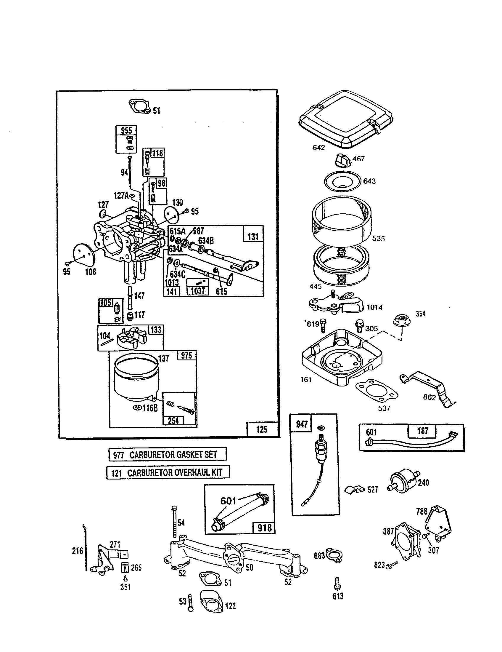 CARBURETOR Diagram & Parts List for Model 3037771032A1