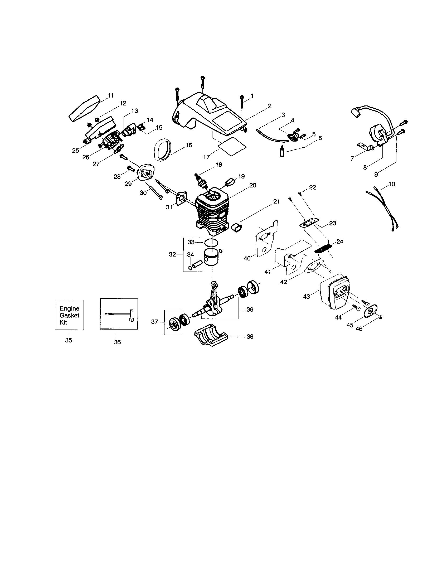 Craftsman 36cc Chainsaw Parts. Craftsman. Tractor Engine