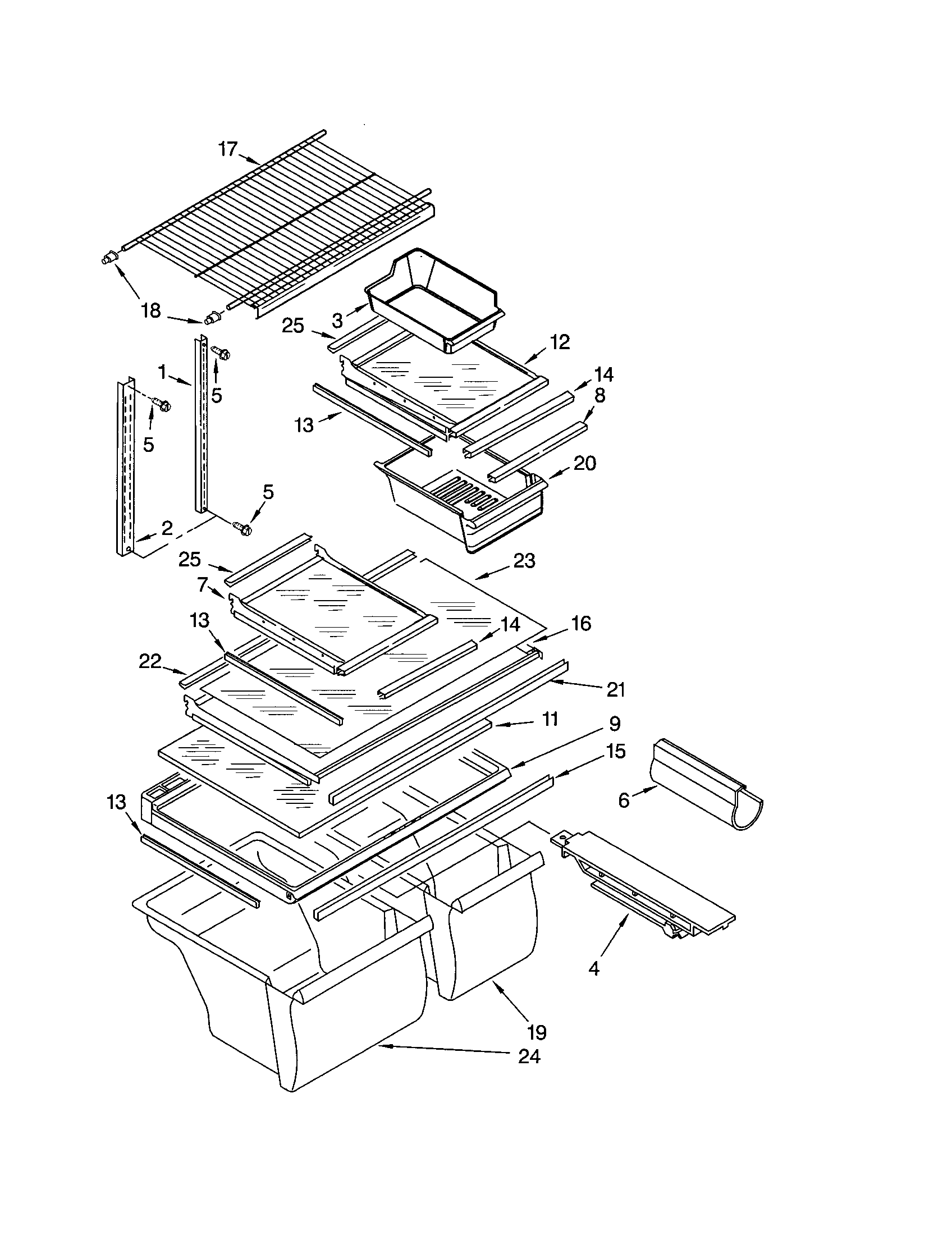SHELF Diagram & Parts List for Model 10670842100 Kenmore