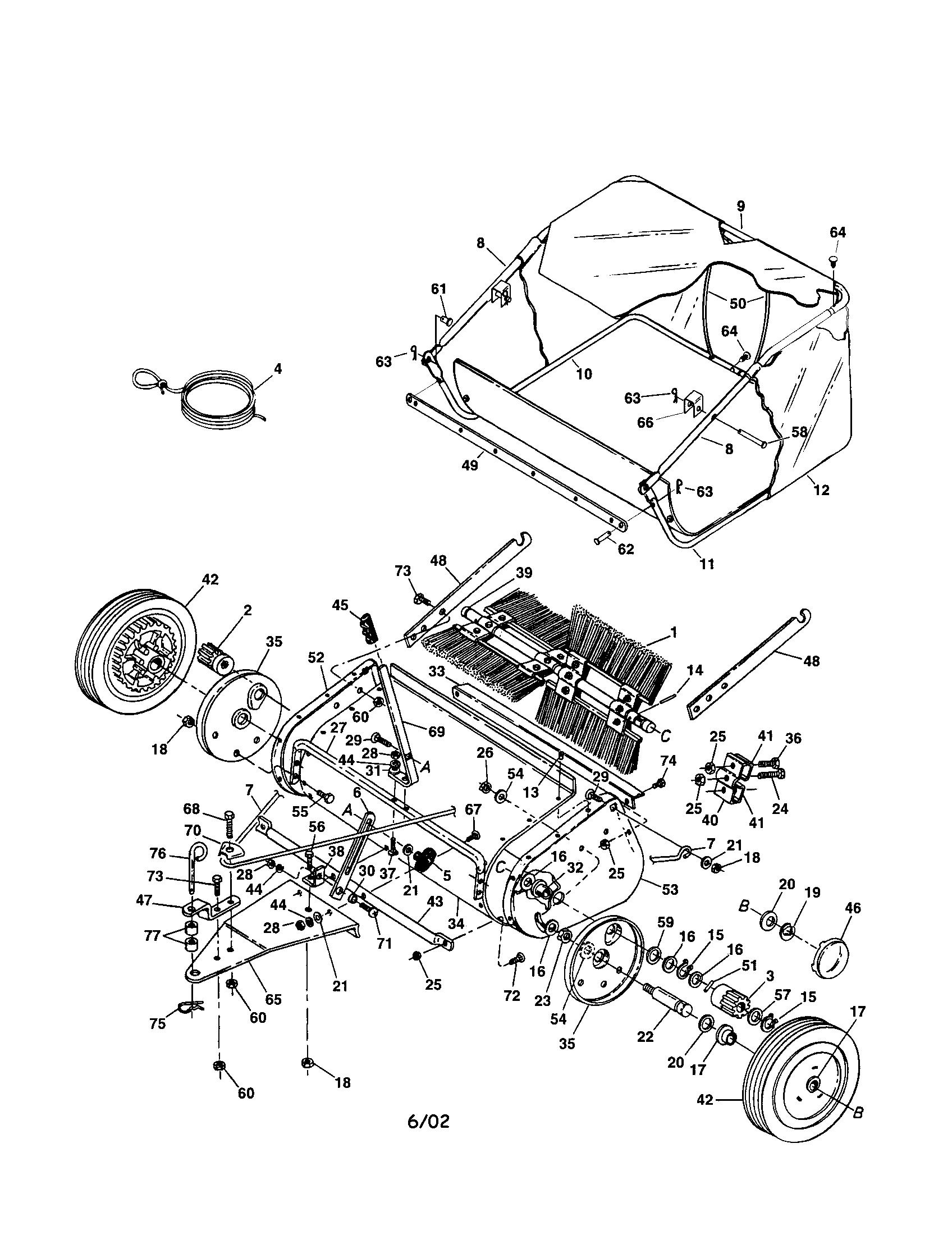 diagram lawn mower sweeper