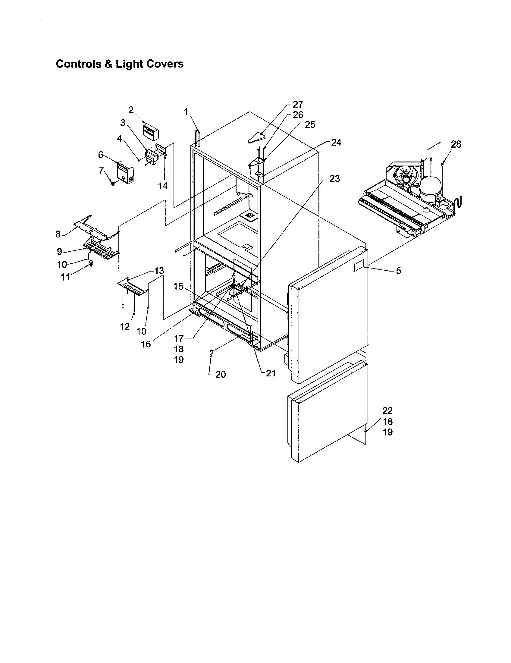 CONTROLS/LIGHT COVERS Diagram & Parts List for Model
