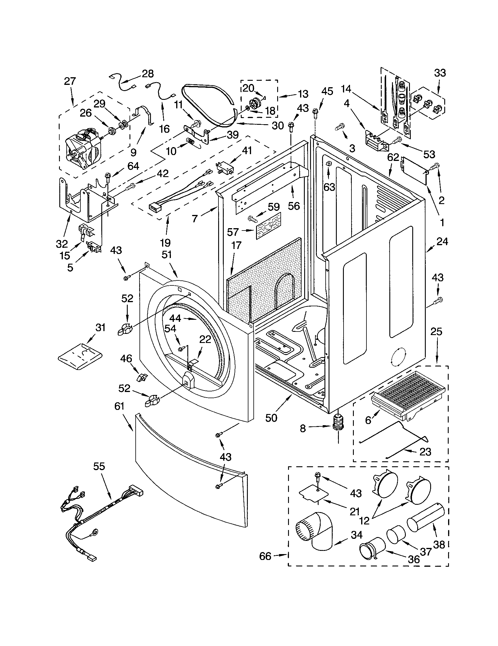 CABINET Diagram & Parts List for Model 11084834200 Kenmore