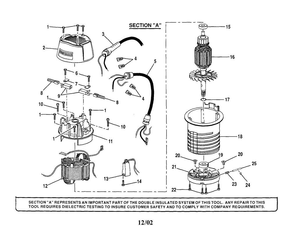 medium resolution of craftsman 315175100 top cap motor housing cord diagram